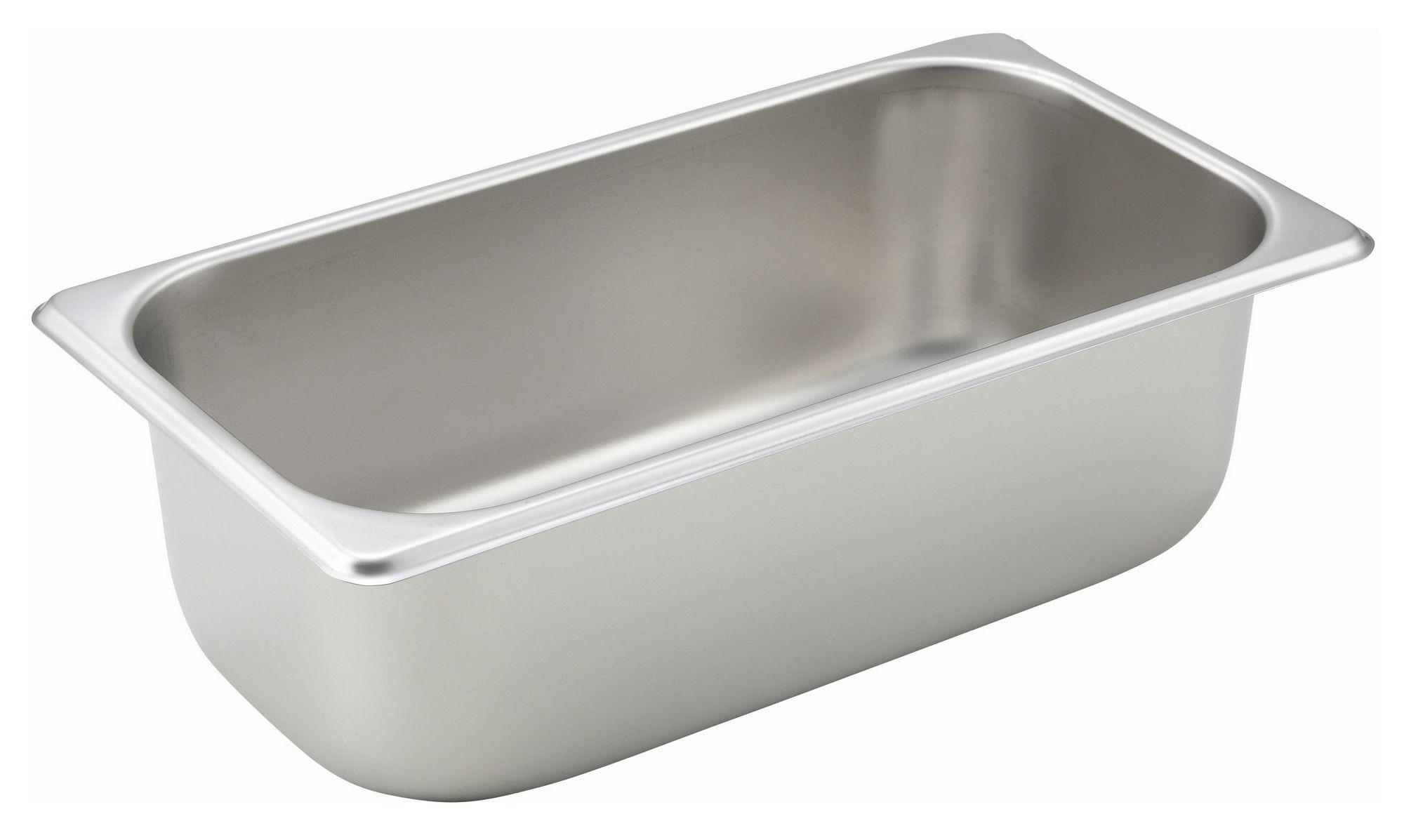 "Winco SPT4 1/3 Size Standard Weight Steam Table Pan 4"" Deep"