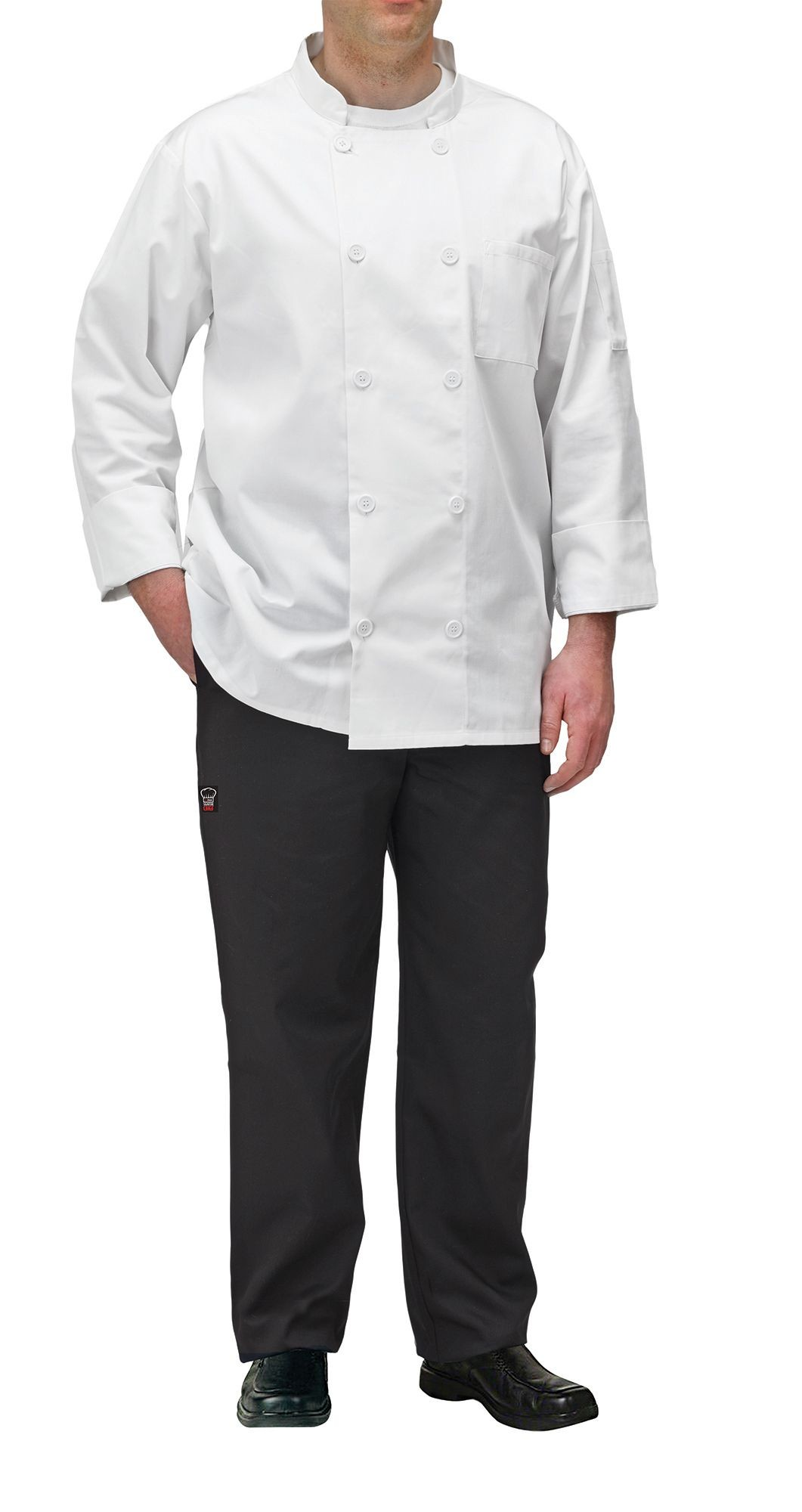 Winco UNF-5WL White Poly-Cotton Blend Double Breasted Chef Jacket with Pocket, Large