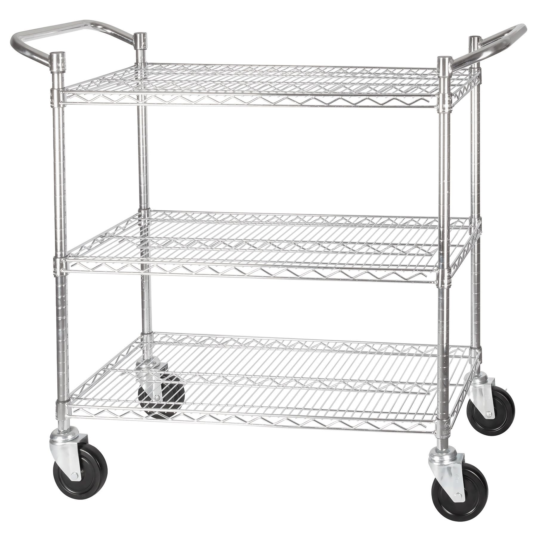 Winco Vccd 2448b Chrome Plated 3 Tier Wire Shelving Cart 24 X 48 Lionsdeal