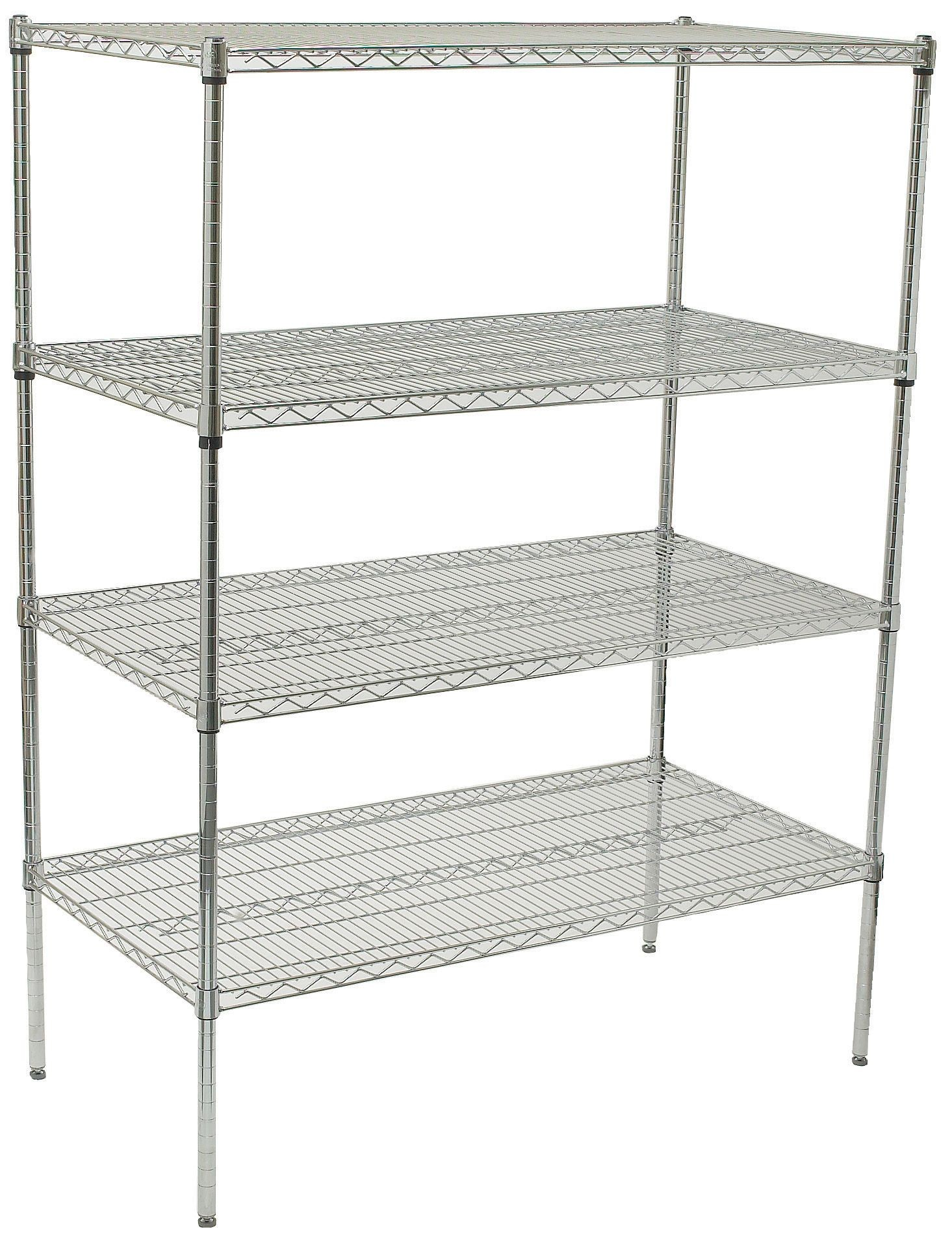"""Winco VCS-2436 Chrome Plated 4-Tier Wire Shelving Set, 24"""" x 36"""" x 72"""""""