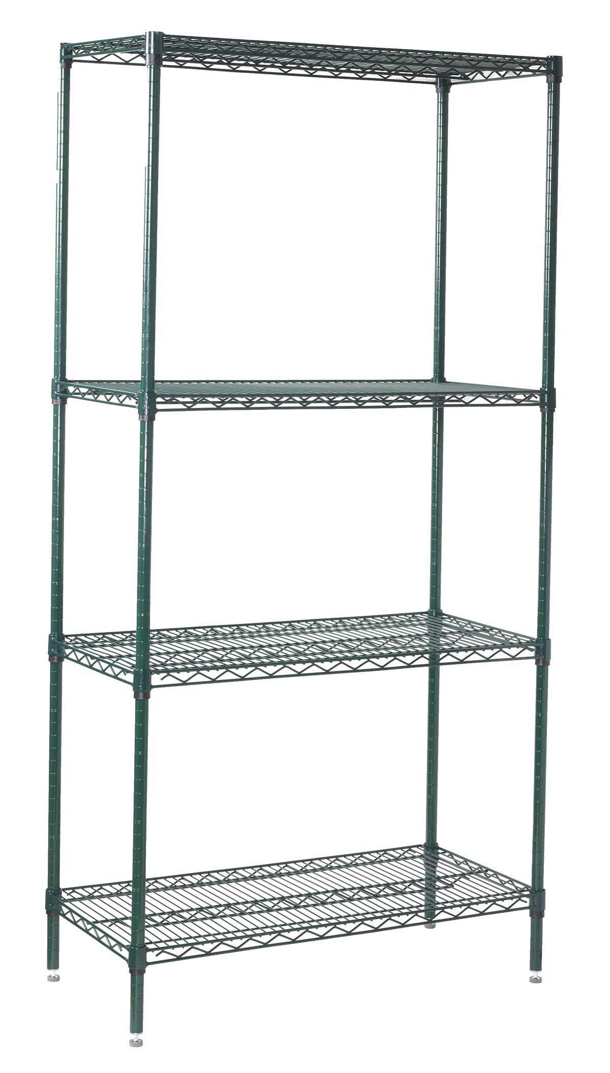 """Winco VEXS-2436 Epoxy Coated 4-Tier Wire Shelving Set, 24"""" x 36"""" x 72"""""""