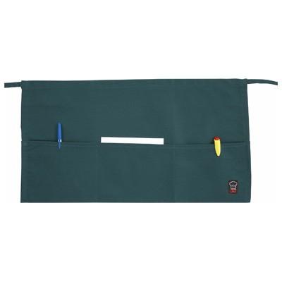 "Winco WA-1221G 3-Pocket Green Poly/Cotton Waist Apron 22"" x 12"""