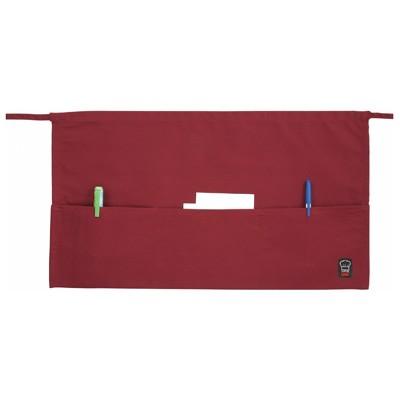 "Winco WA-1221R 3-Pocket Burgundy Poly/Cotton Waist Apron 22"" x 12"""