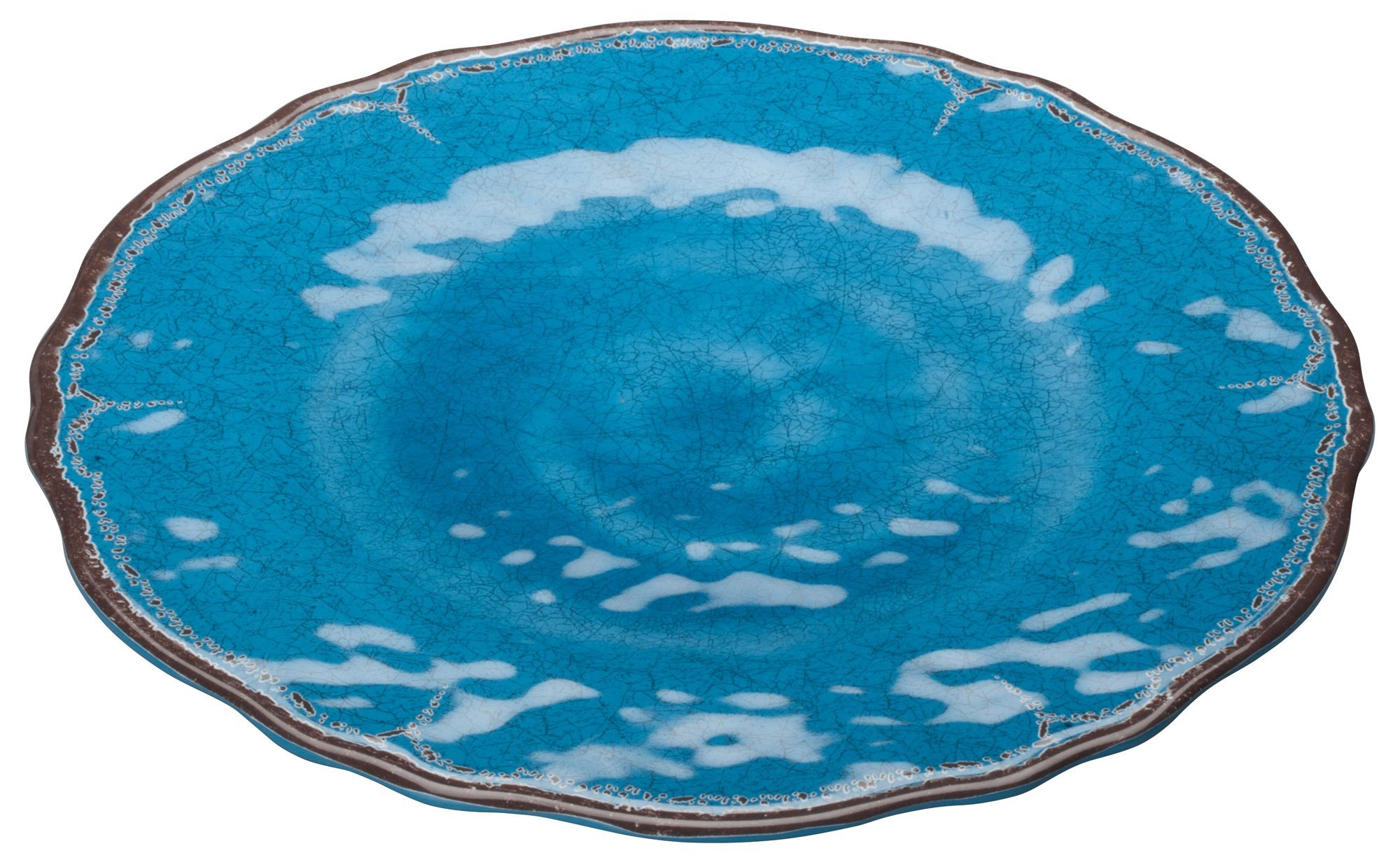 "Winco WDM001-402 Luzia Blue Melamine Hammered Plate 11"""