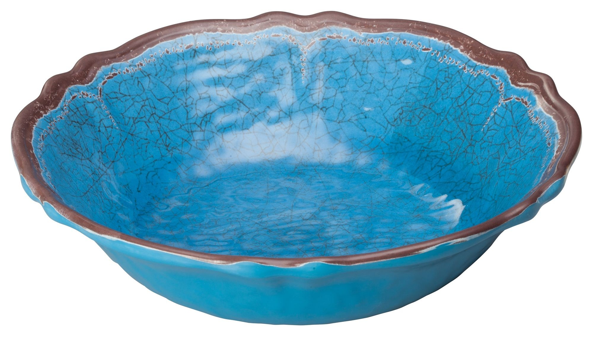 "Winco WDM001-407 Luzia Blue Melamine Hammered Bowl 13-3/4"""
