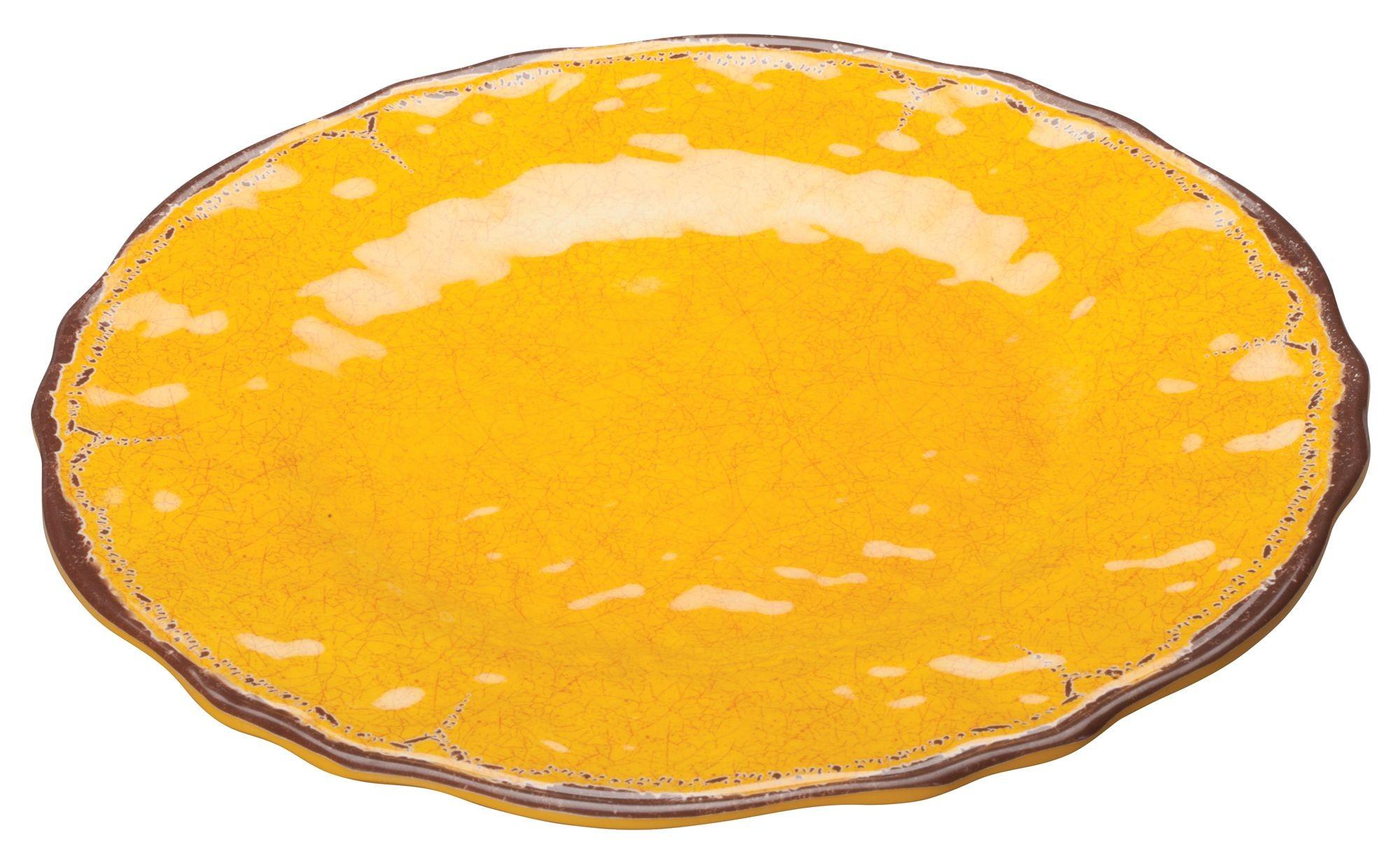 "Winco WDM001-601 Luzia Yellow Melamine Hammered Plate 9"""