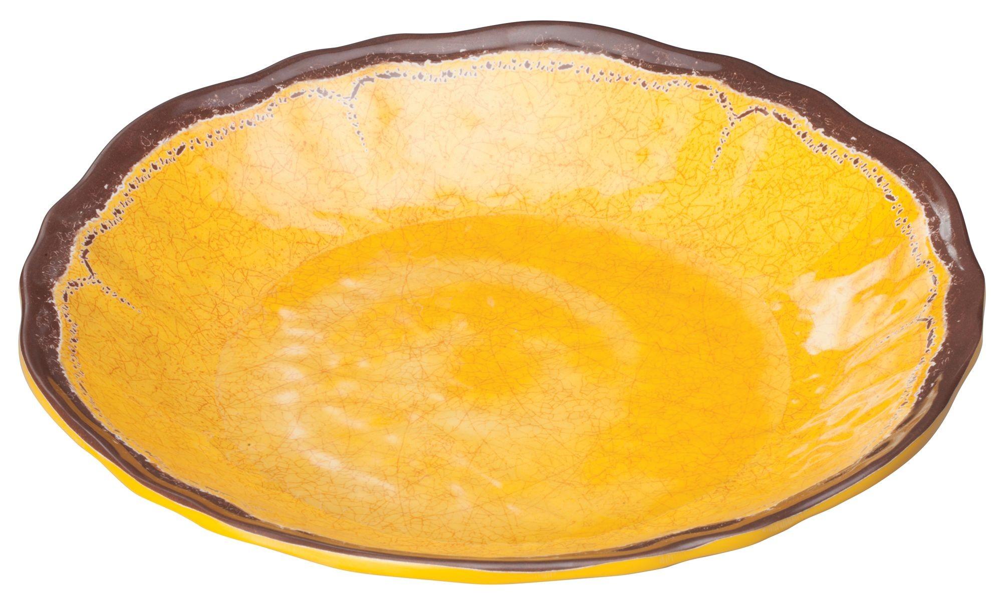 "Winco WDM001-605 Luzia Yellow Melamine Hammered Deep Plate 9-5/8"""