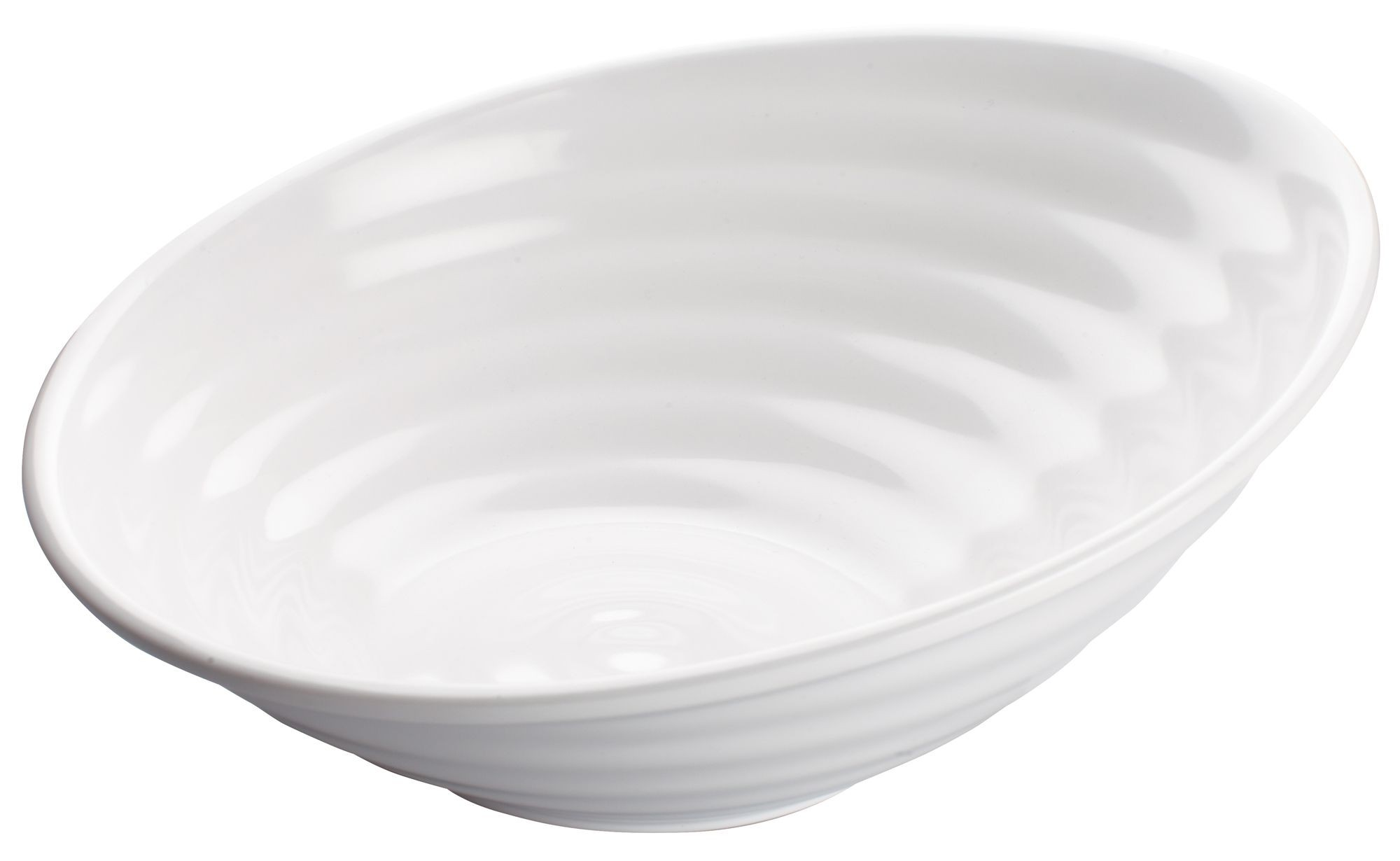 Winco WDM003-201 Hailey White Melamine Angle Bowl 12""