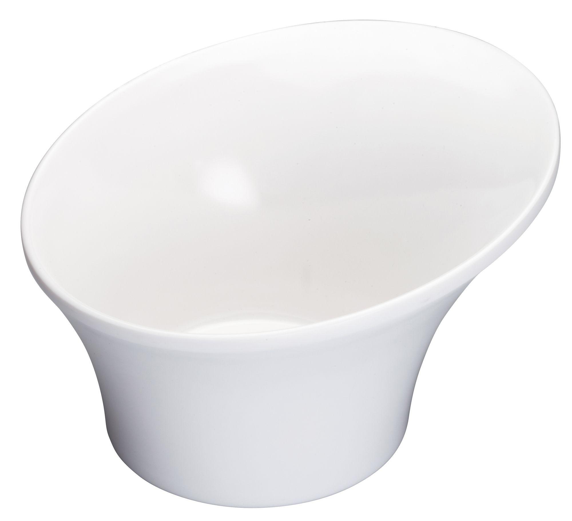 "Winco WDM004-201 Priscila White Melamine Angle Bowl 6-1/2"""