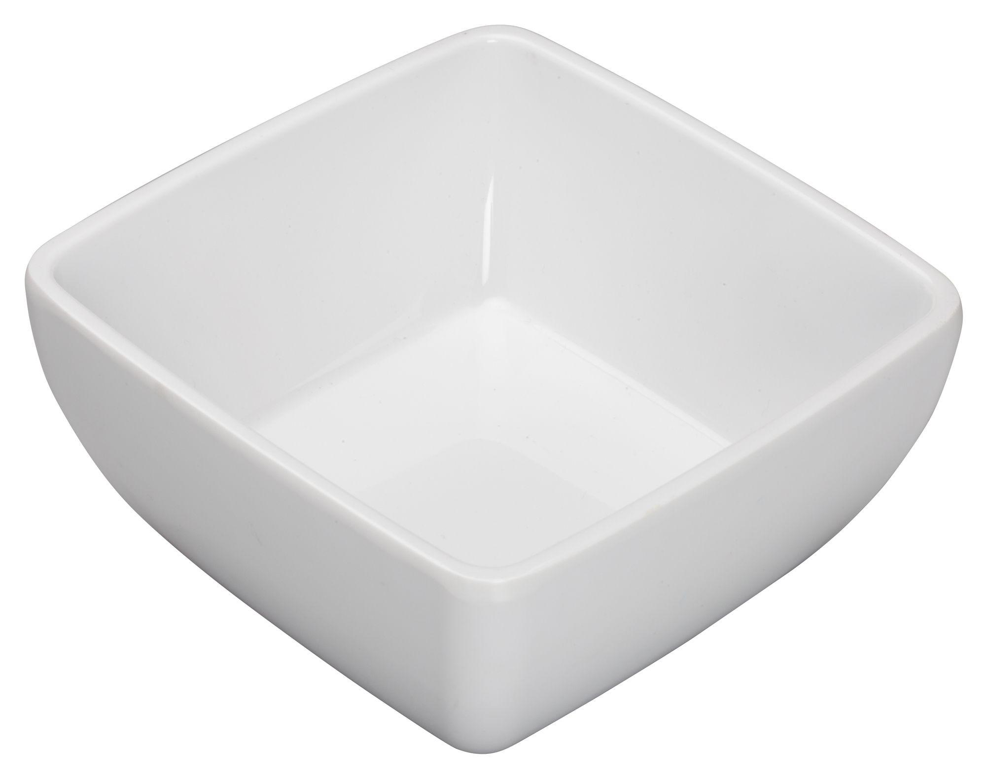 """Winco WDM009-203 Linza White Melamine Square Bowl 5"""""""