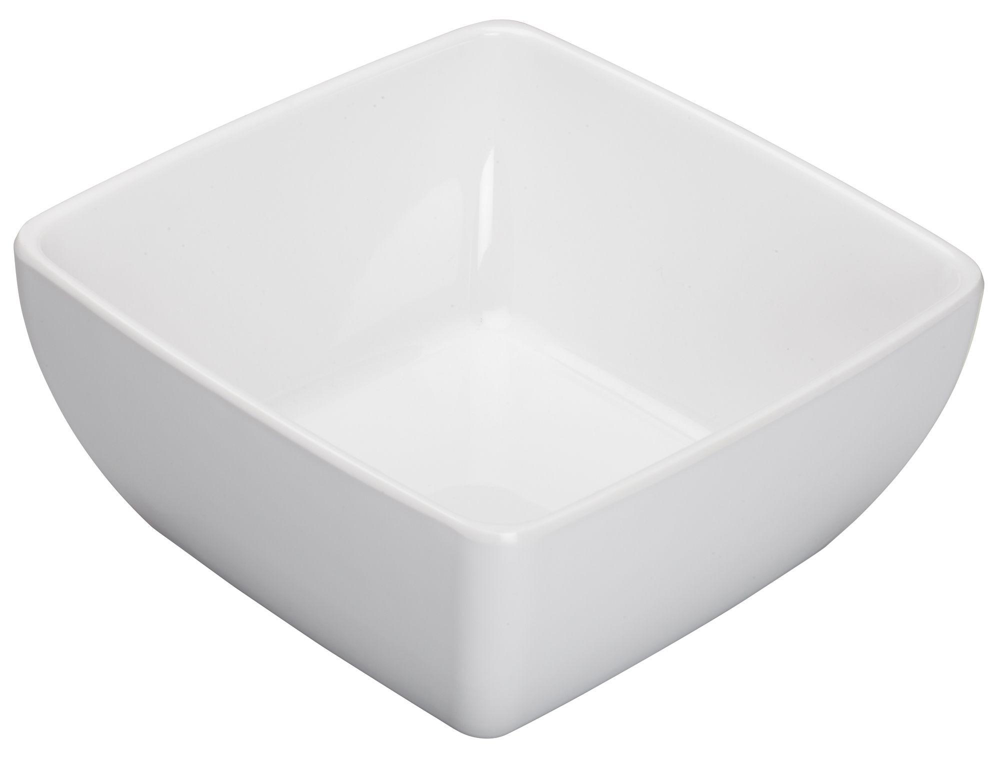 """Winco WDM009-204 Linza White Melamine Square Bowl 7-1/2"""""""