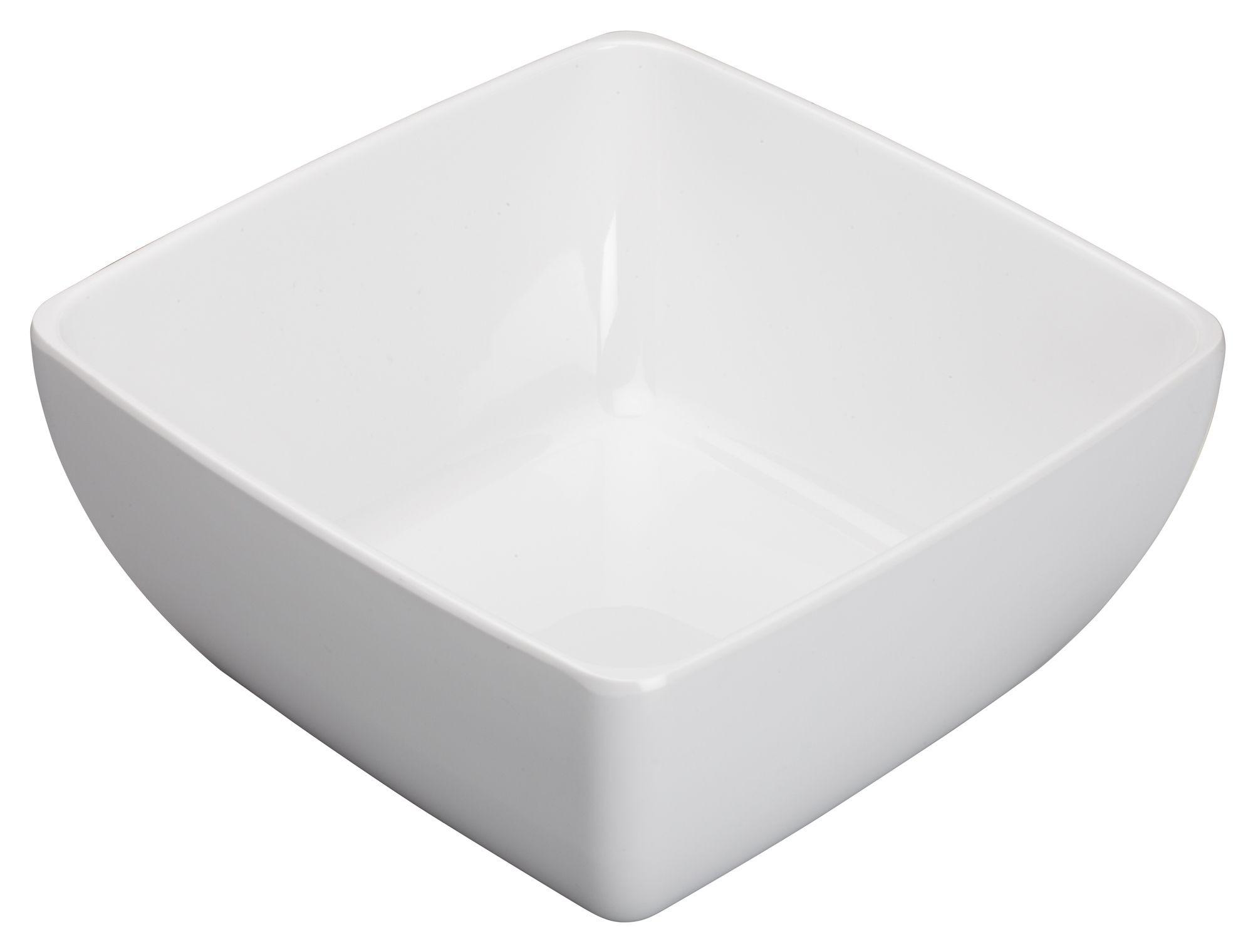 """Winco WDM009-205 Linza White Melamine Square Bowl 10"""""""