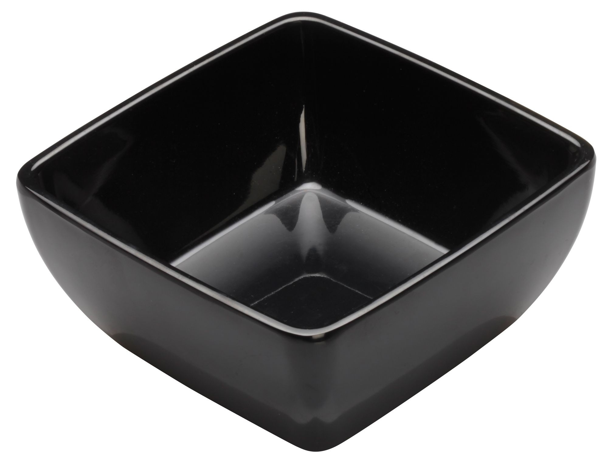 Winco WDM009-303 Linza Black Melamine Square Bowl 5""