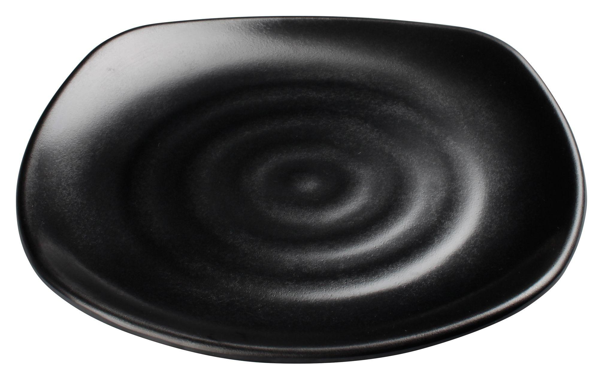 "Winco WDM013-303 Rika Black Melamine Square Plate 10-3/4"""