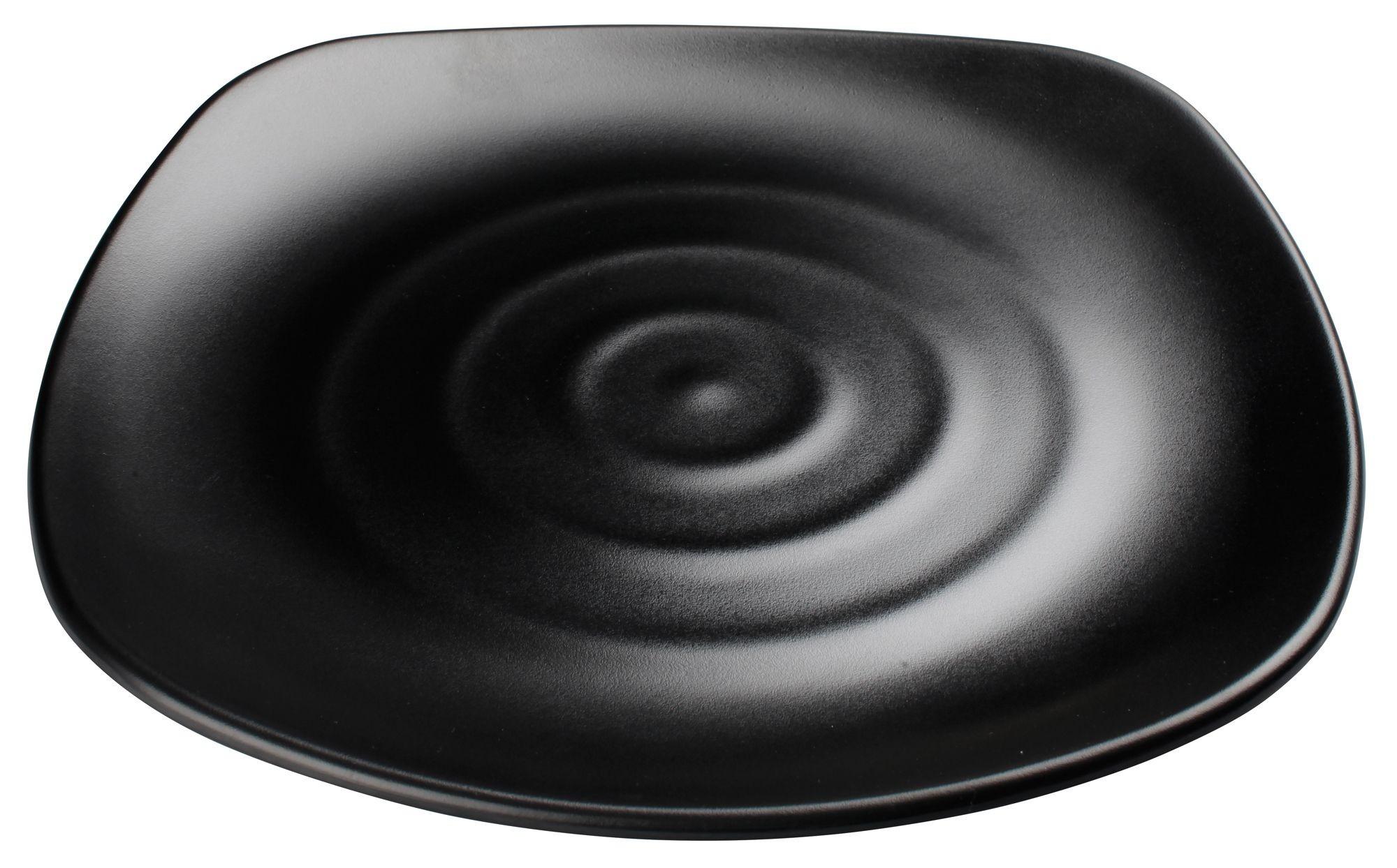 "Winco WDM013-306 Rika Black Melamine Square Plate 13-3/4"""
