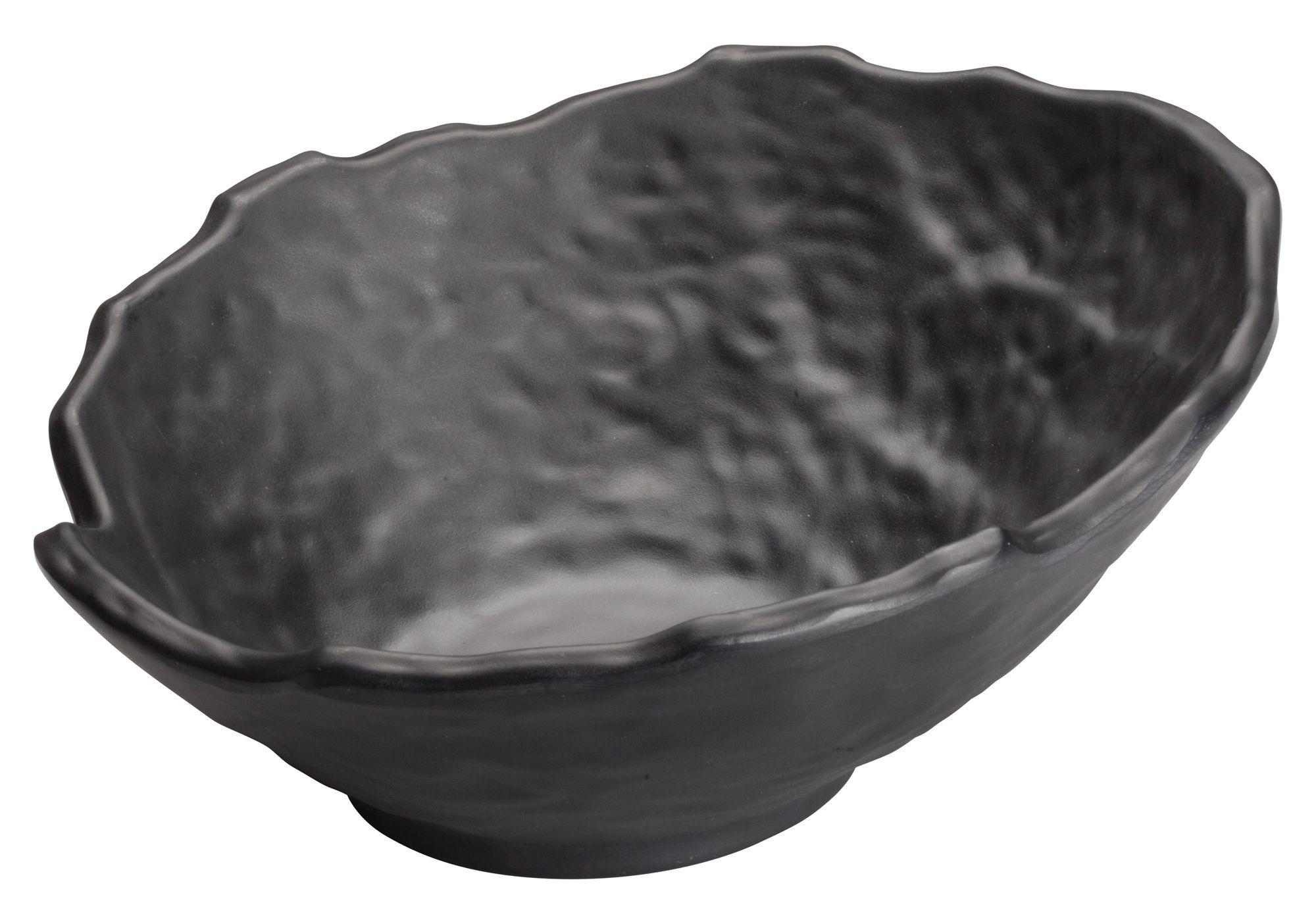 "Winco WDM019-308 Kaori Black Melamine Angled Bowl 9"" Dia."