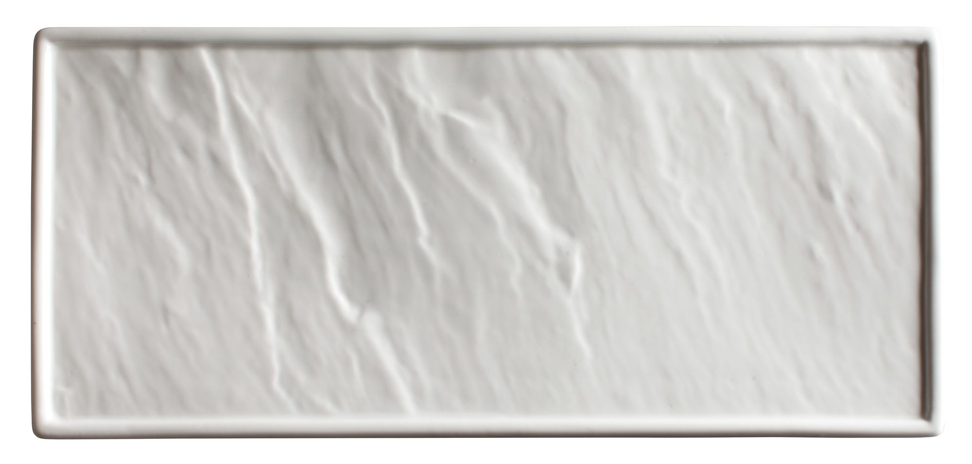 "Winco WDP001-201 Calacatta Creamy White Porcelain Rectangular Platter 10"" x 4-3/4"""