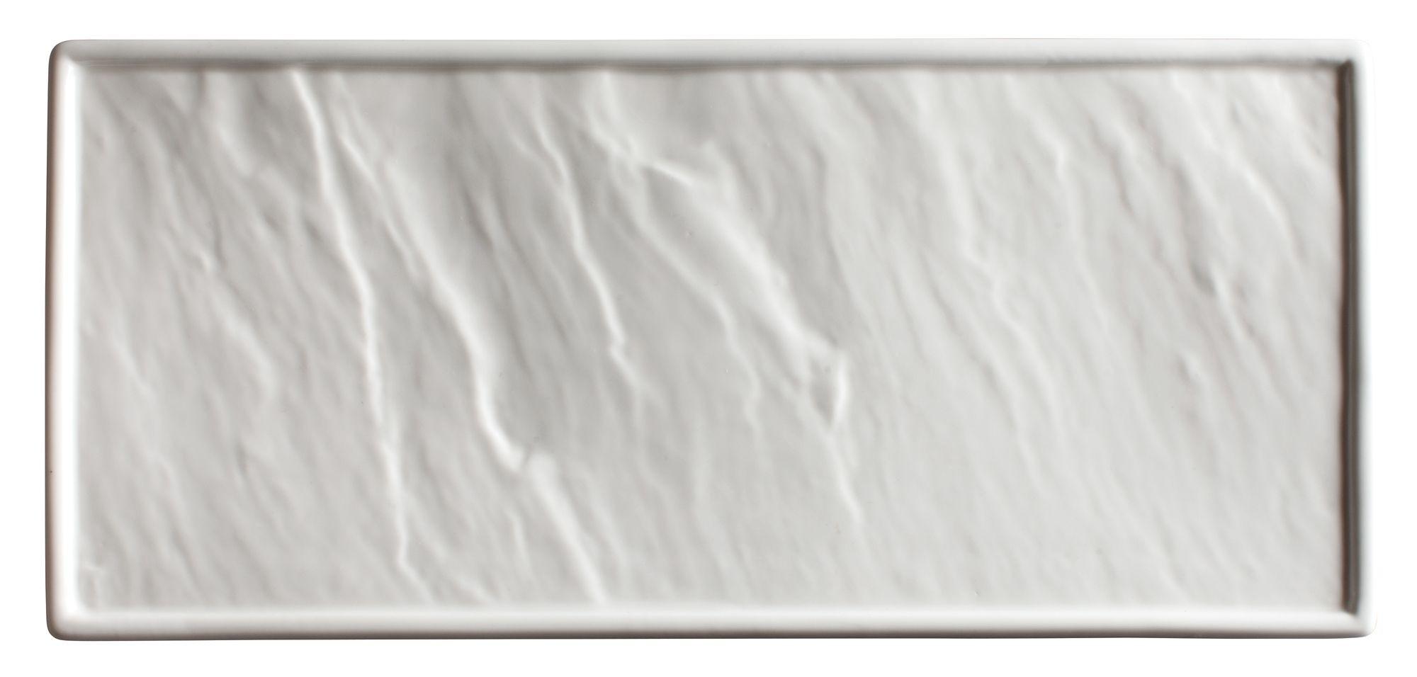 "Winco WDP001-203 Calacatta Creamy White Porcelain Rectangular Platter 13-7/8"" x 6"""