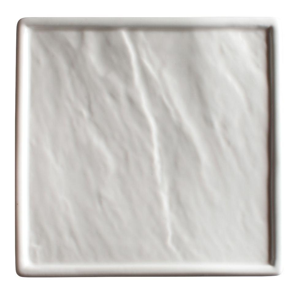 "Winco WDP001-206 Calacatta Creamy White Porcelain Square Platter 8-1/2"""