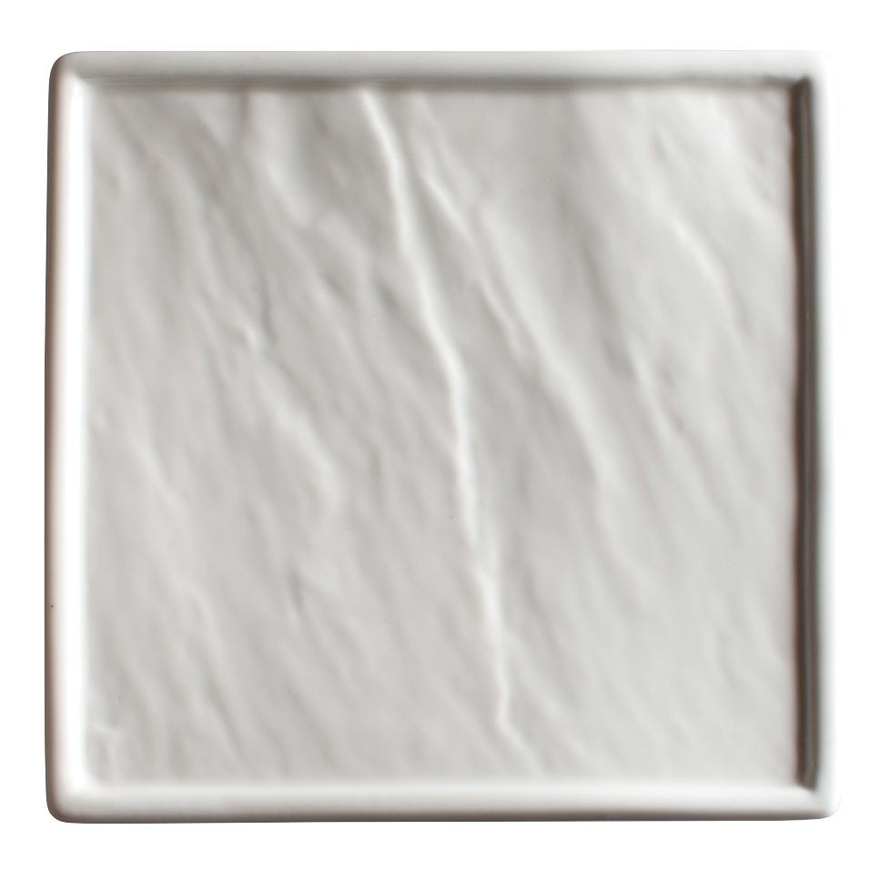 "Winco WDP001-209 Calacatta Creamy White Porcelain Square Platter 14-1/8"""