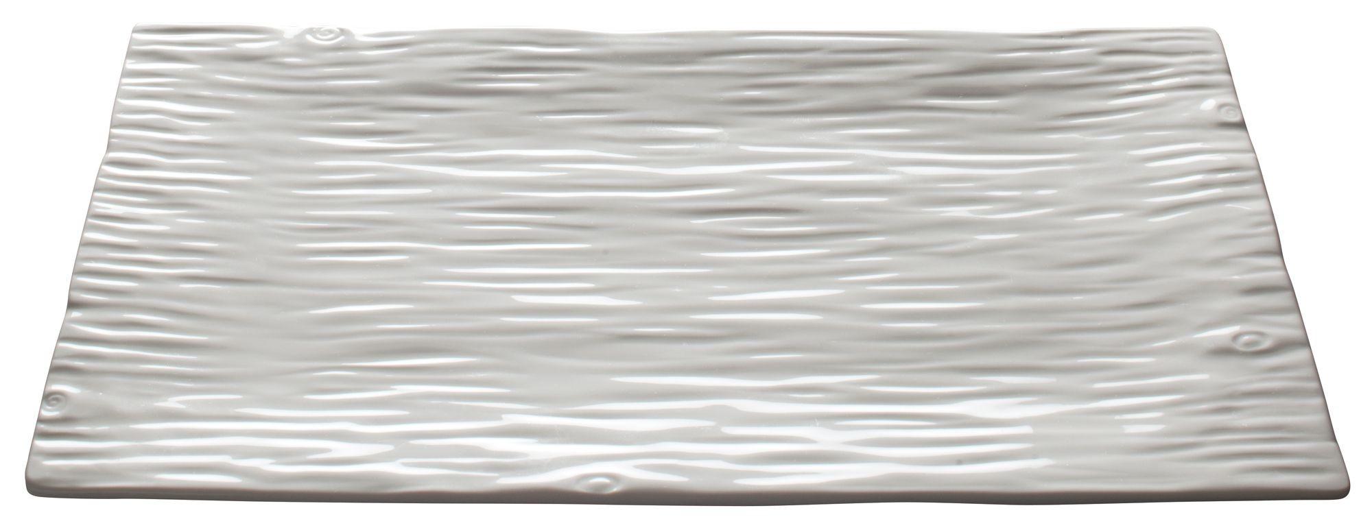 "Winco WDP002-202 Dalmata Creamy White Porcelain Rectangular Platter 14"" x 8-1/8"""