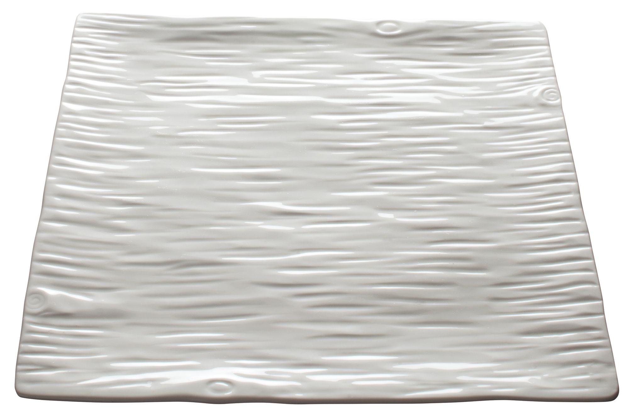 """Winco WDP002-206 Dalmata Creamy White Porcelain Square Platter 12"""""""