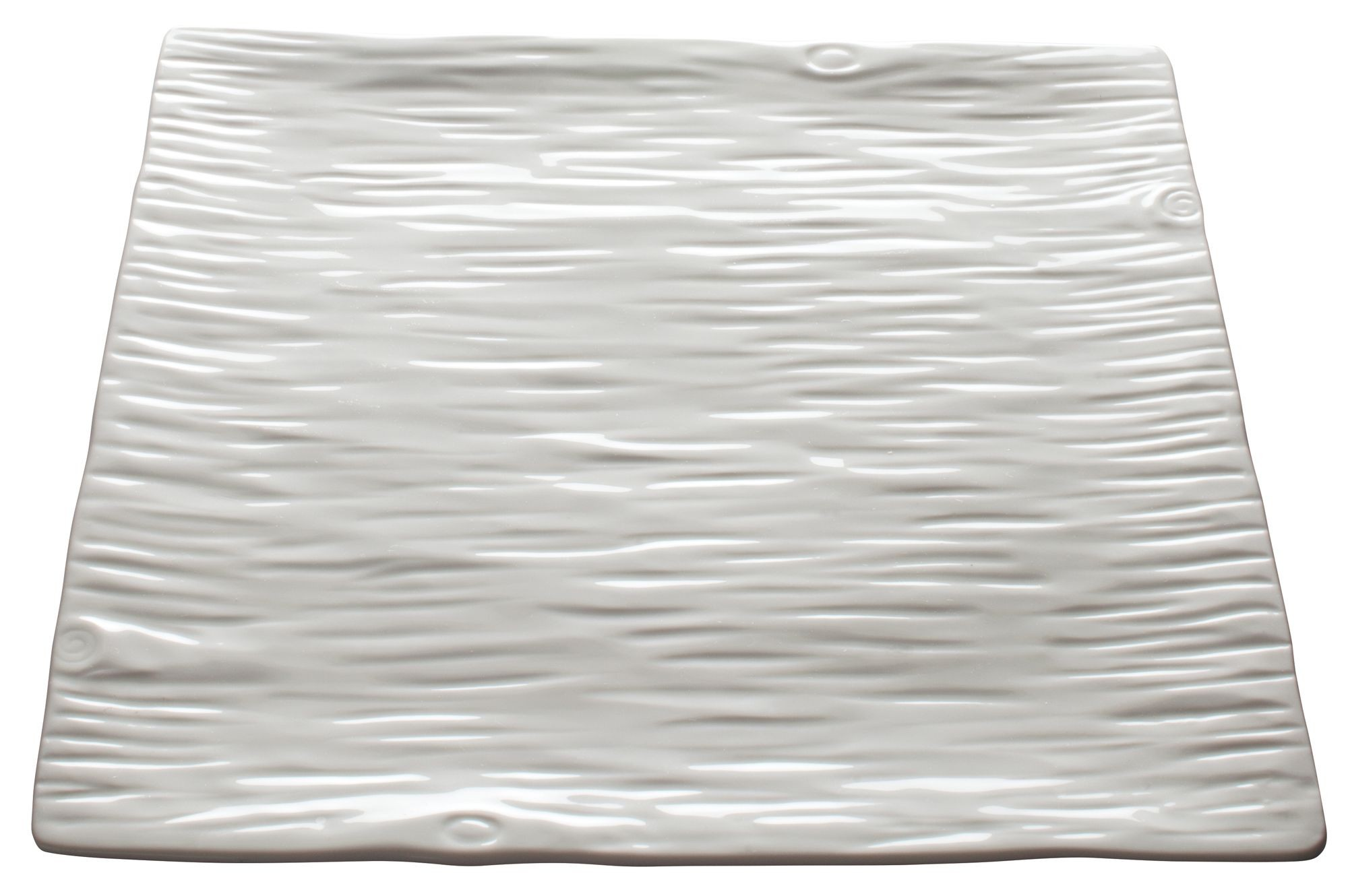 """Winco WDP002-207 Dalmata Creamy White Porcelain Square Platter 14"""""""