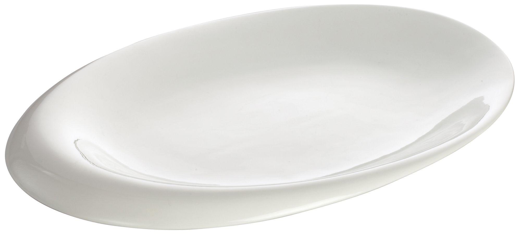 "Winco WDP004-211 Ocea Creamy White Porcelain Oval Bowl 14"" x 10-1/4"""