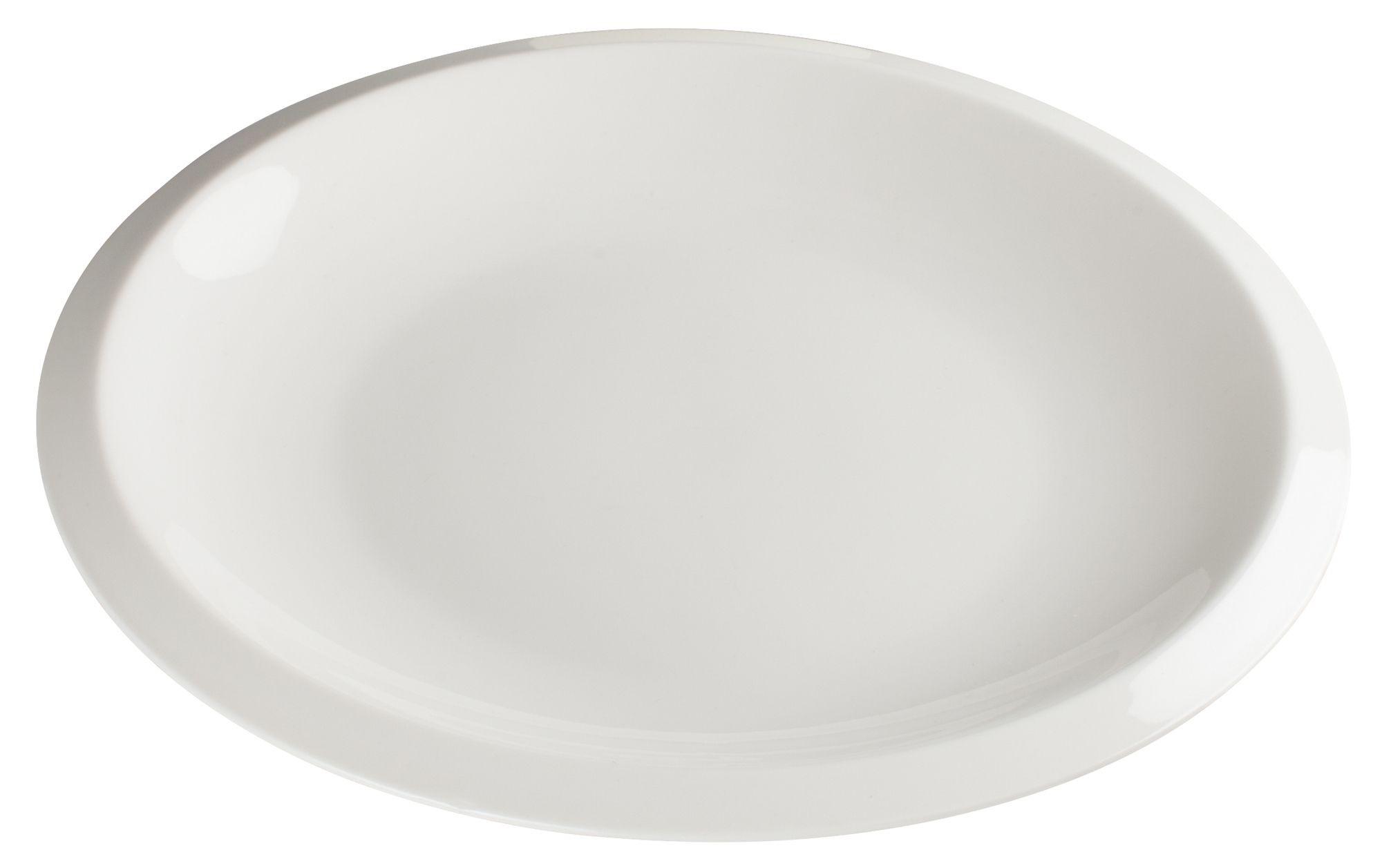 "Winco WDP006-201 Bergomi Creamy White Porcelain Round Platter 8"" Dia."