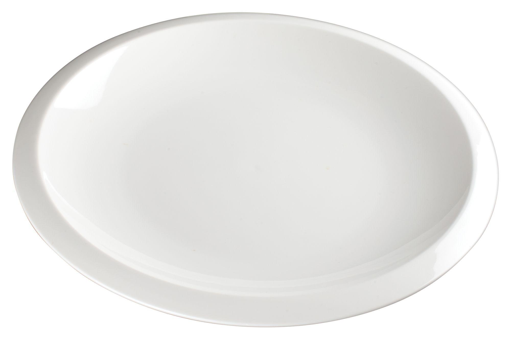 "Winco WDP006-203 Bergomi Creamy White Porcelain Round Platter 12-1/2"" Dia."