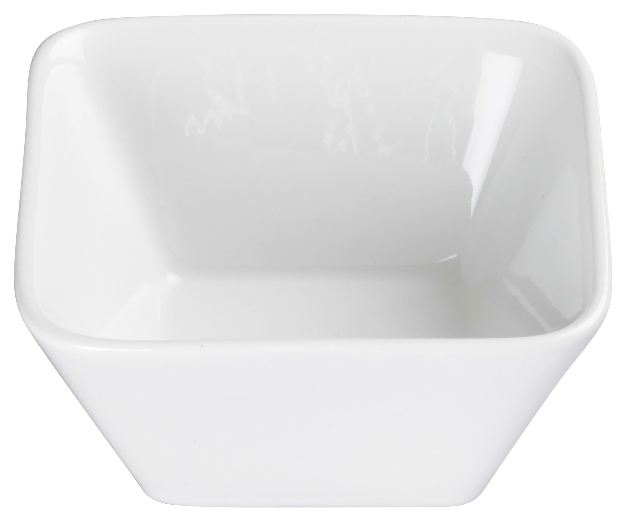 Winco WDP008-101 Laurets Porcelain Bright White Square Bowl 4-1/2""