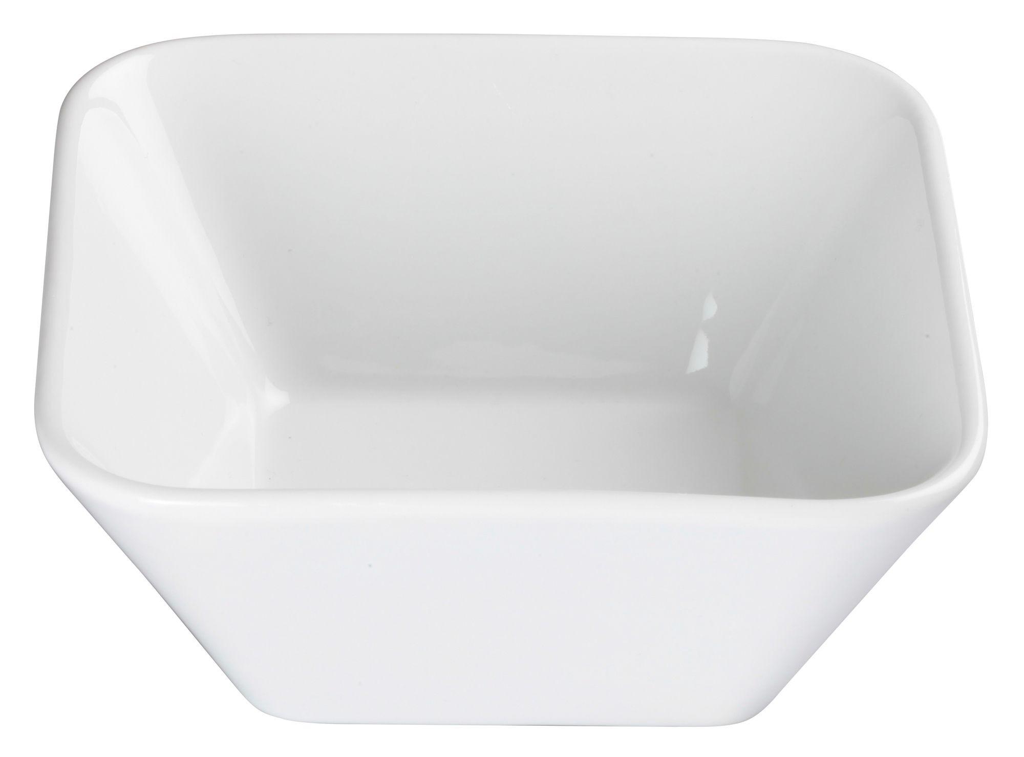 """Winco WDP008-102 Laurets Porcelain Bright White Square Bowl 6-1/4"""""""