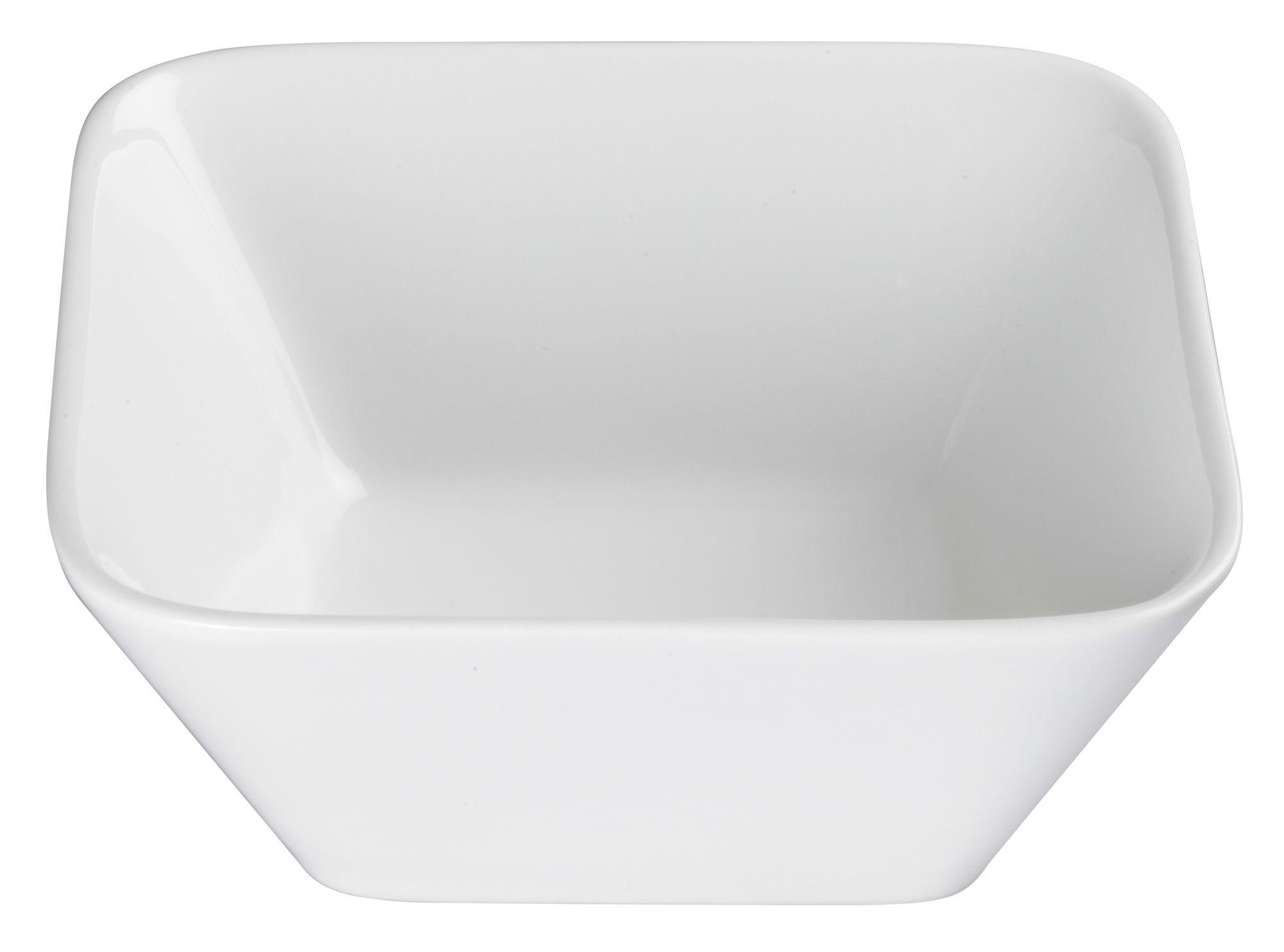 """Winco WDP008-103 Laurets Porcelain Bright White Square Bowl 6-3/4"""""""