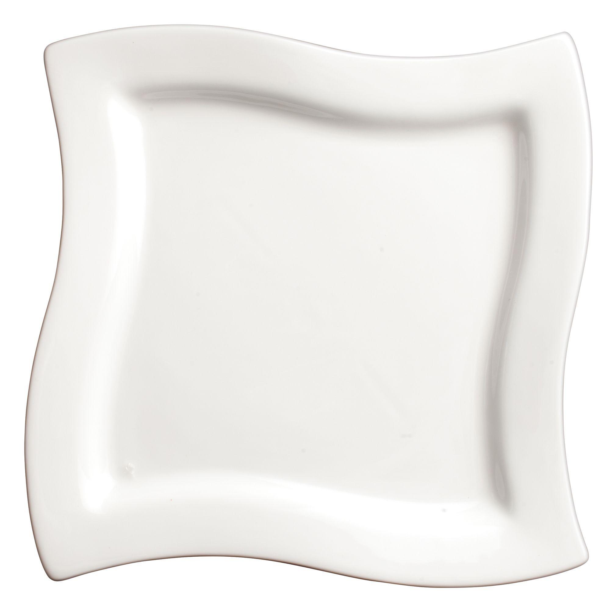 """Winco WDP011-102 Cramont Porcelain Bright White Square Plate 7-1/2"""""""