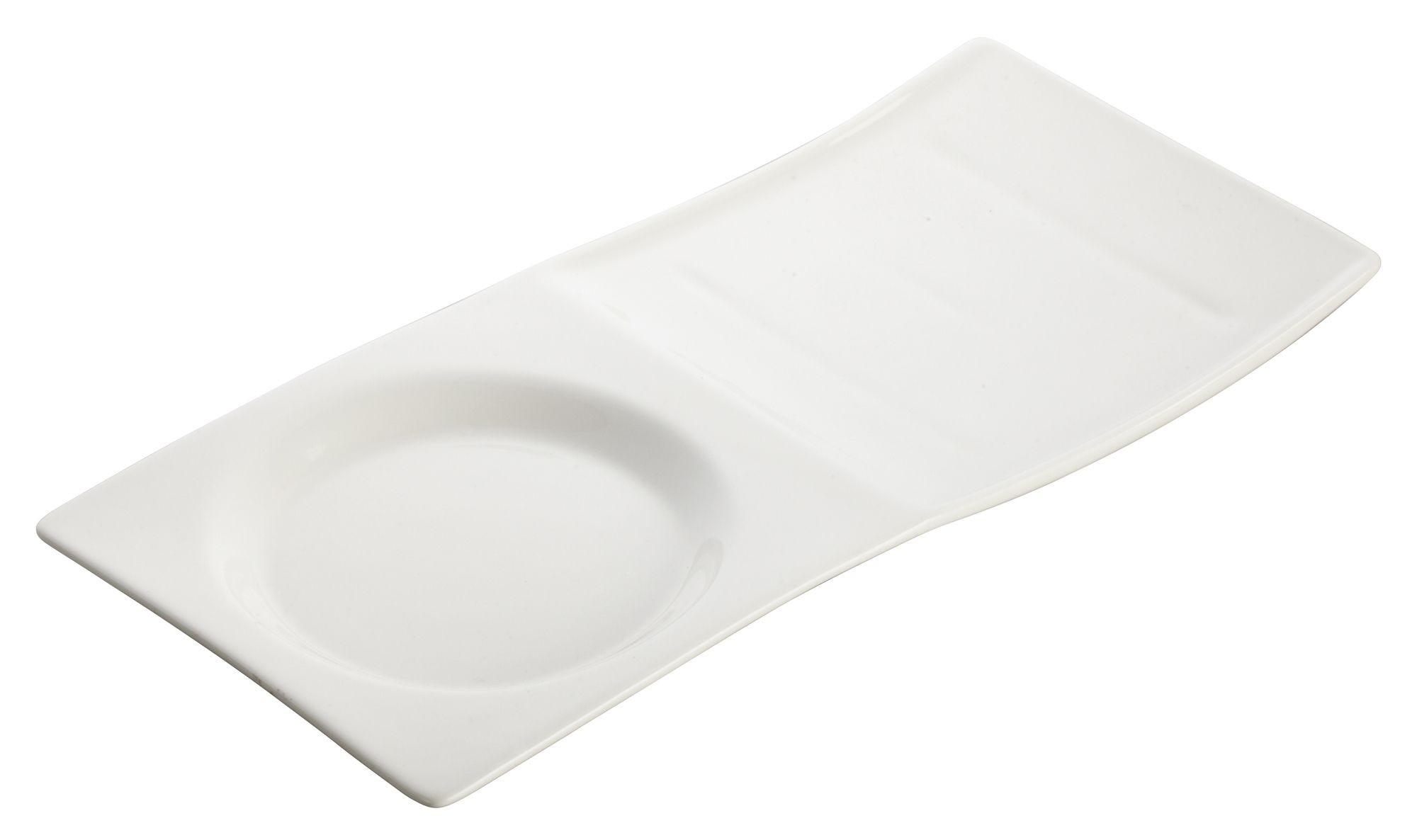 "Winco WDP012-102 Tenora Porcelain Bright White Tray 10-1/2"" x 5"""