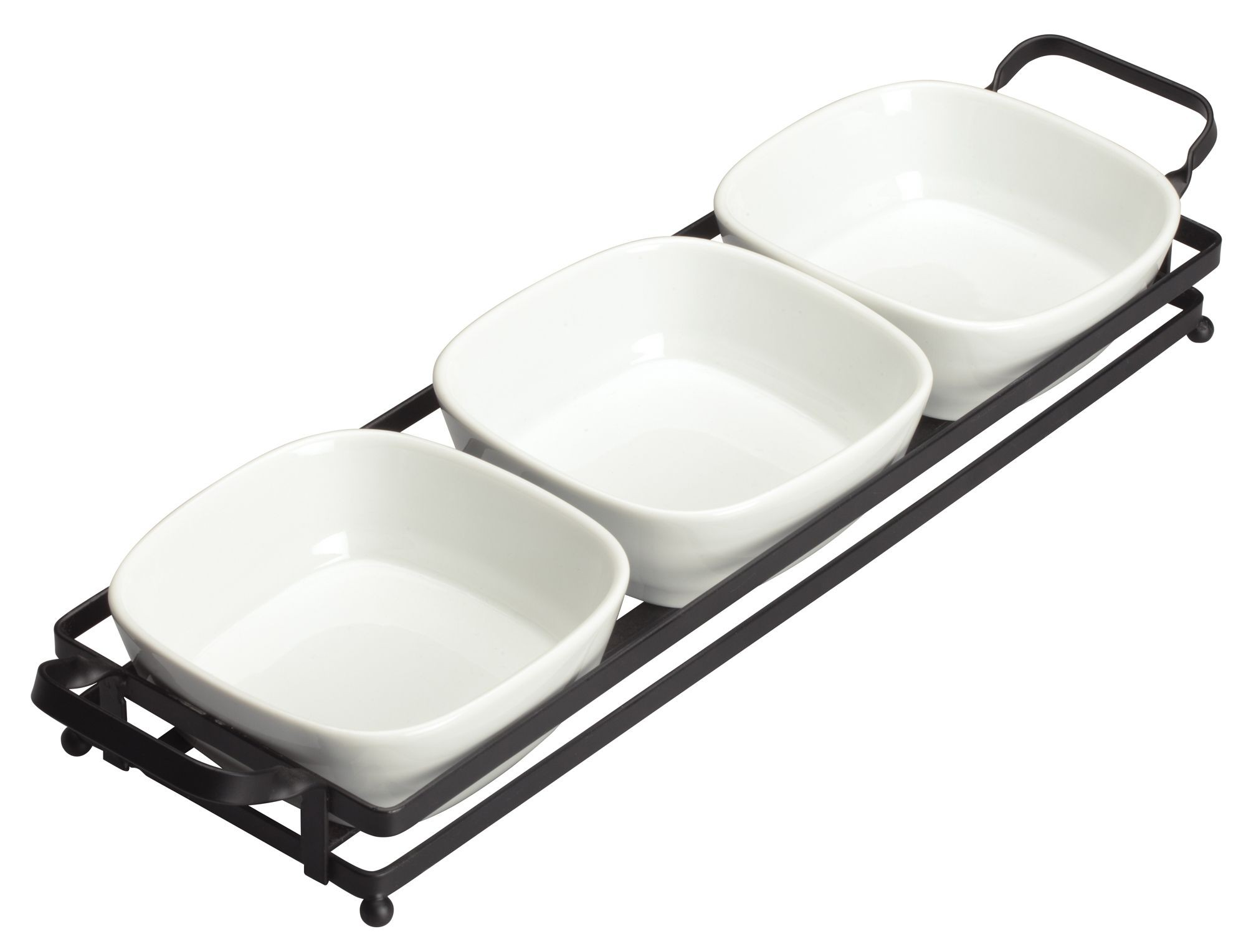"Winco WDP014-102 Newry Porcelain Trio Set with Stand 16-1/2"" x 4-5/8"""