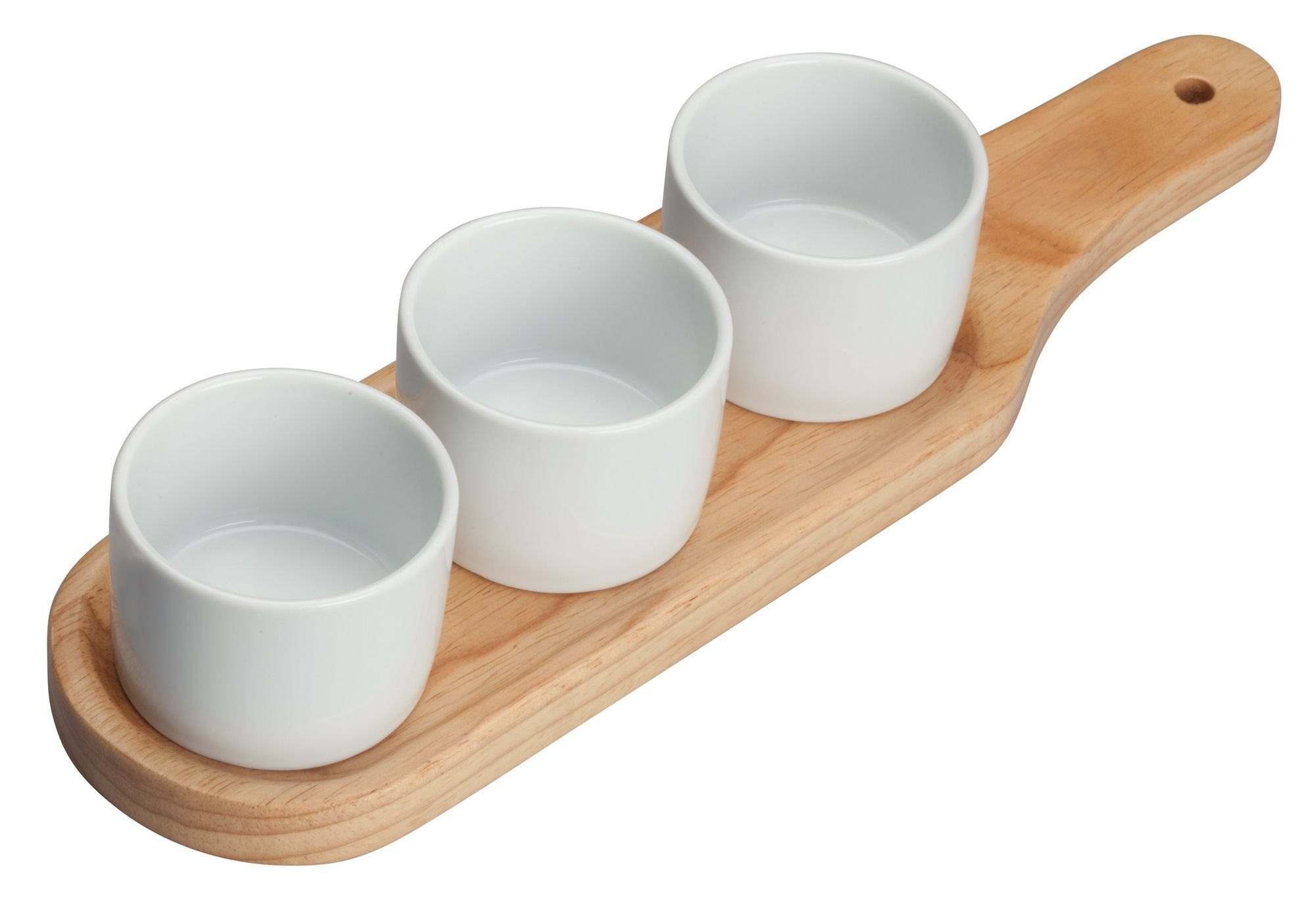 "Winco WDP015-103 Newry Porcelain Trio Bowl Set with Wooden Plate 11-5/8"" x 3-1/8"""