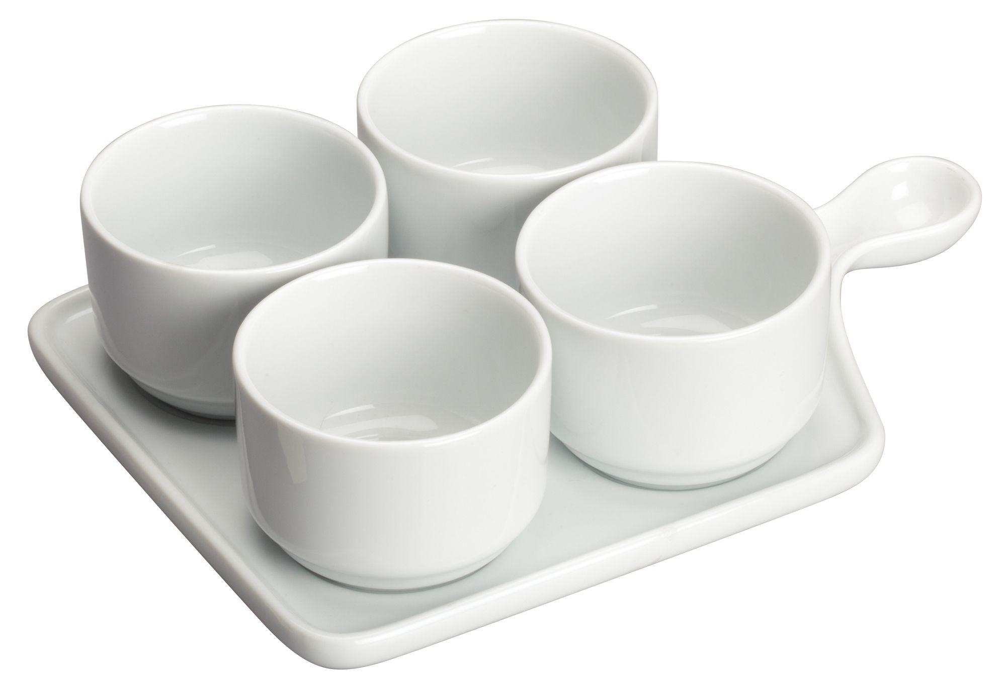"""Winco WDP016--102 Newry Porcelain Quartet Tapas Set 9-3/4"""" x 6-3/4"""""""