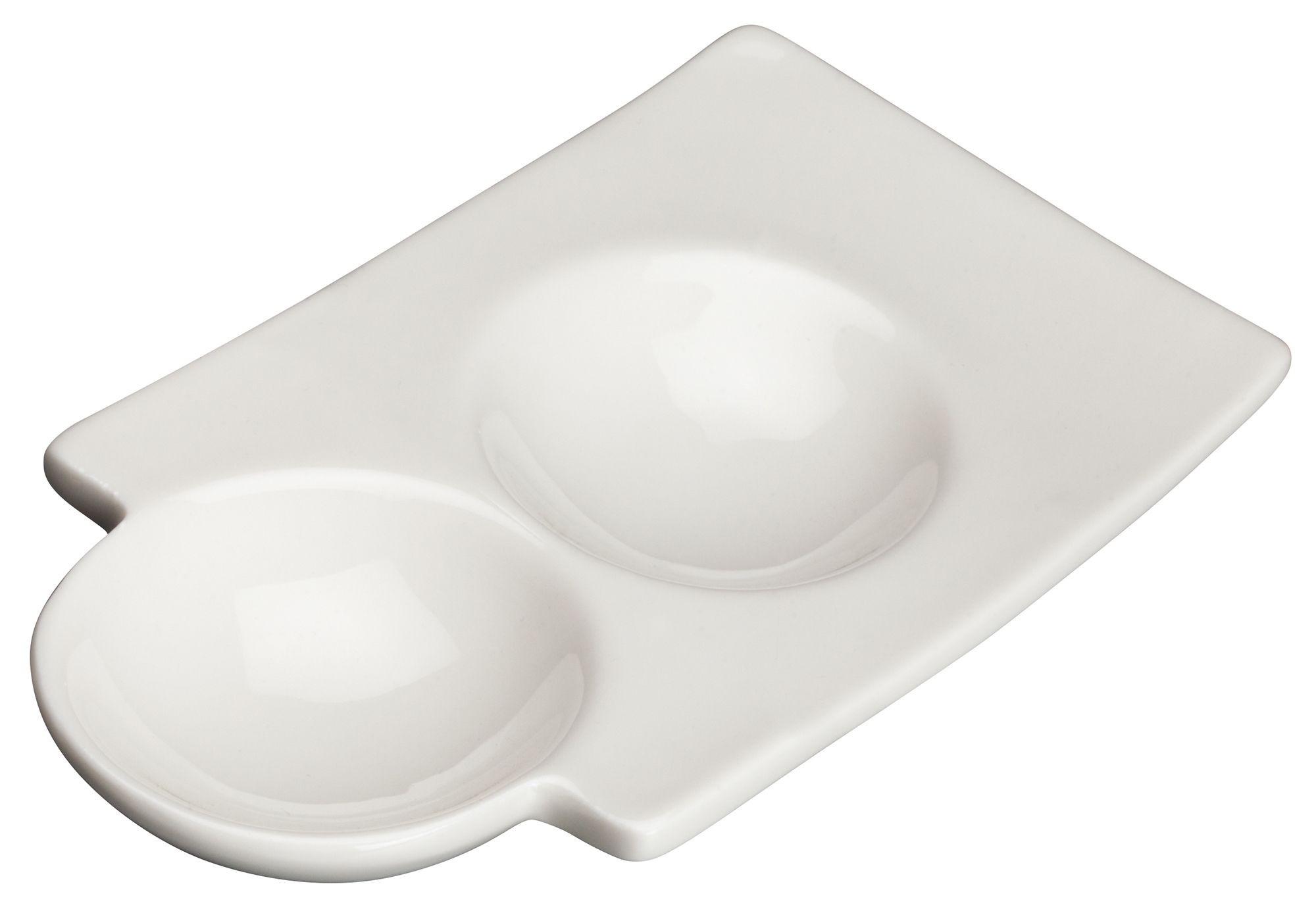 "Winco WDP017-106 Loures Porcelain Bright White Duo Dish 6"""