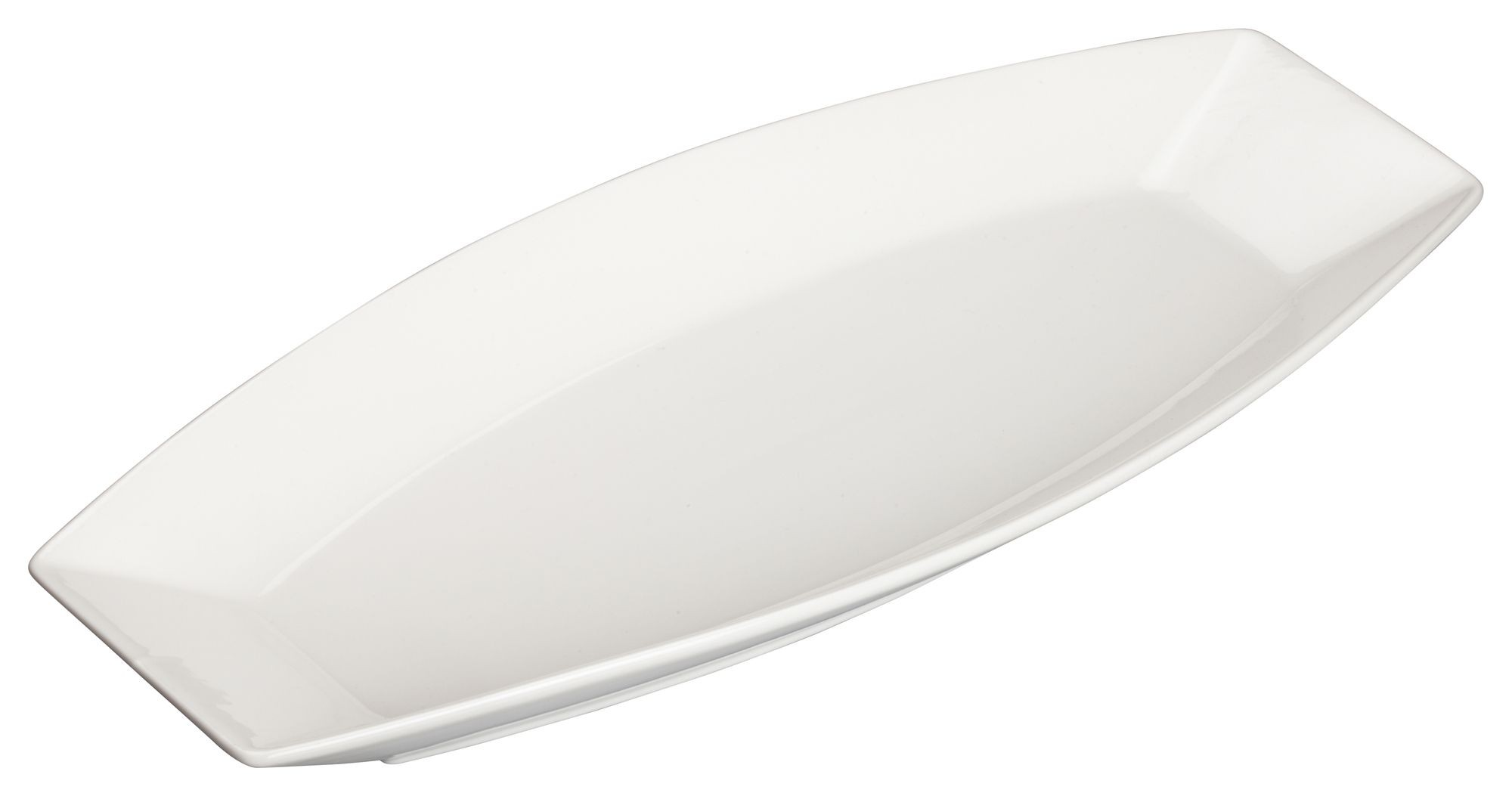 """Winco WDP017-110 Loures Porcelain Bright White Oval Plate 15-1/4"""" x 6-1/2"""""""