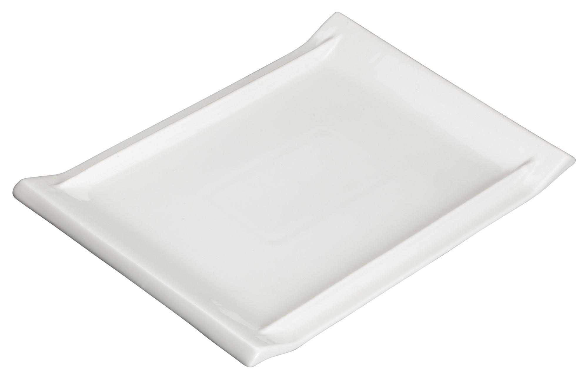 "Winco WDP017-111 Tollaro Porcelain Bright White Rectangular Platter 10-1/8"" x 7"""