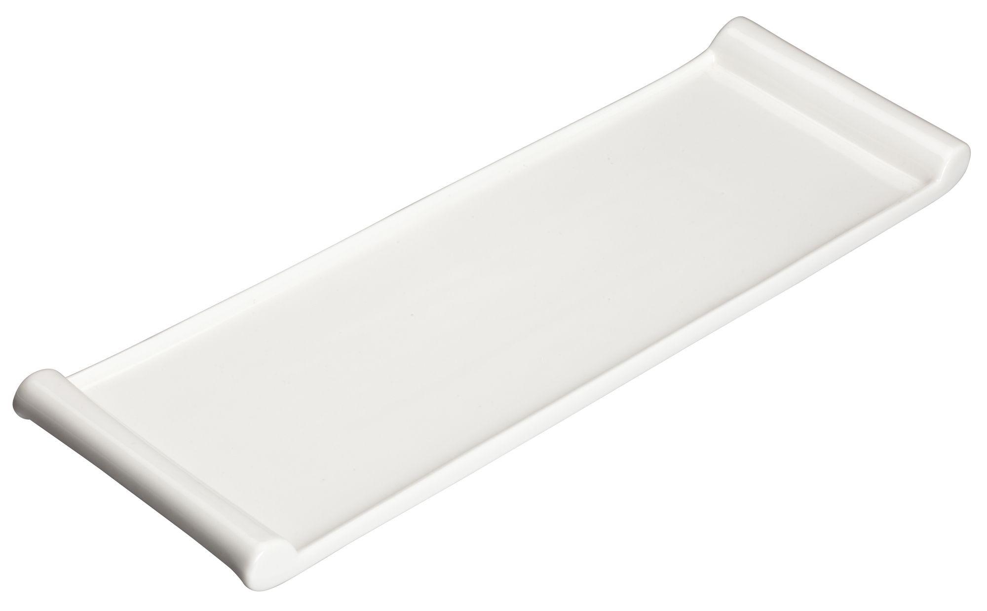 "Winco WDP017-117 Paredes Porcelain Bright White Rectangular Platter 16-1/4"" x 5"""