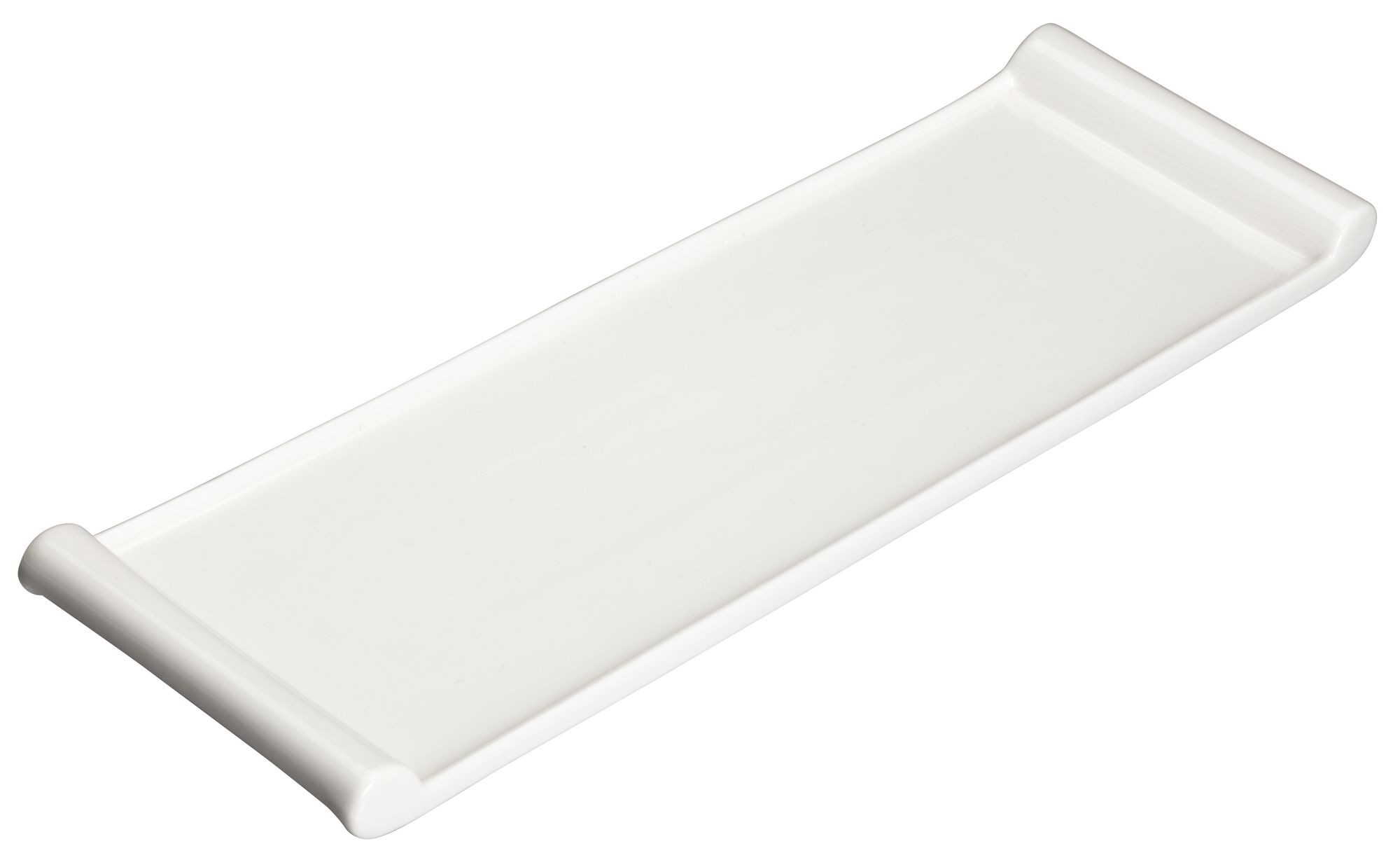 "Winco WDP017-119 Paredes Porcelain Bright White Rectangular Platter 20-1/4"" x 6-1/8"""