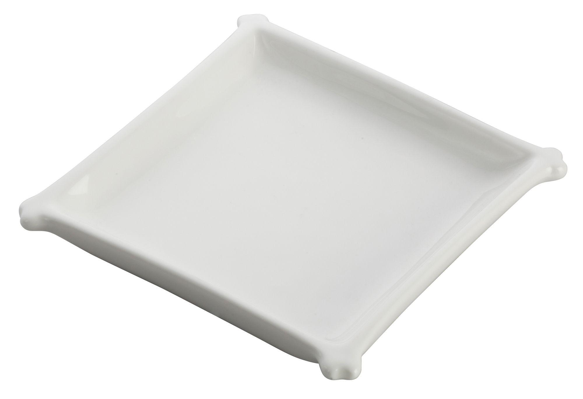 """Winco WDP018-101 Edessa Porcelain Bright White Square Dish 4-1/4"""""""