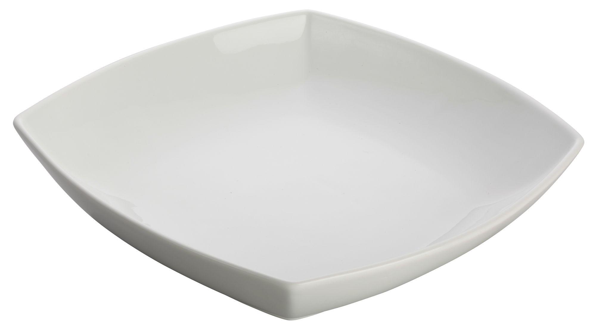 "Winco WDP019-101 Sefton Porcelain White Square Bowl 10"""