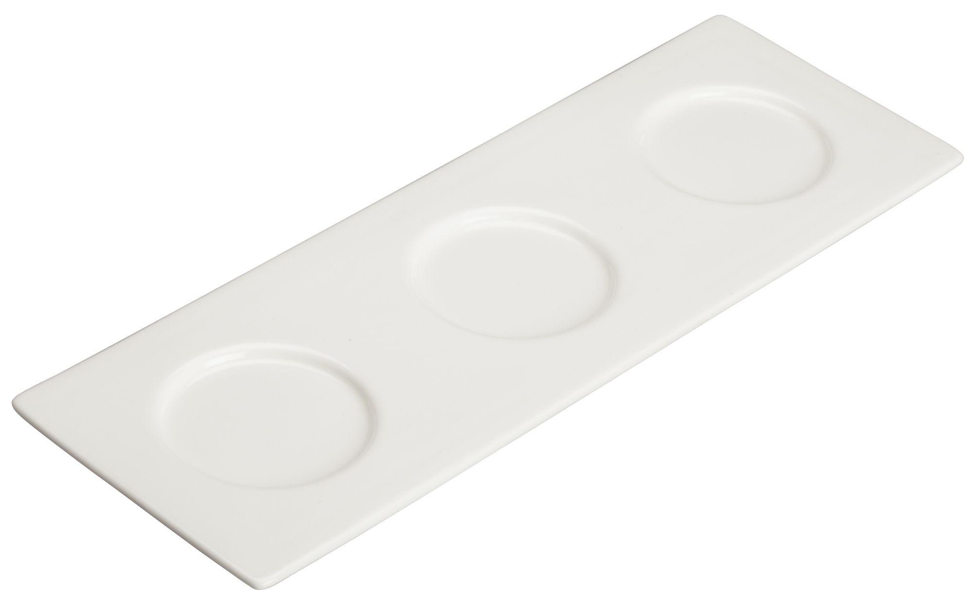"""Winco WDP021-109 Mescalore Porcelain Bright White Trio Tray 13-3/4"""" x 5"""""""