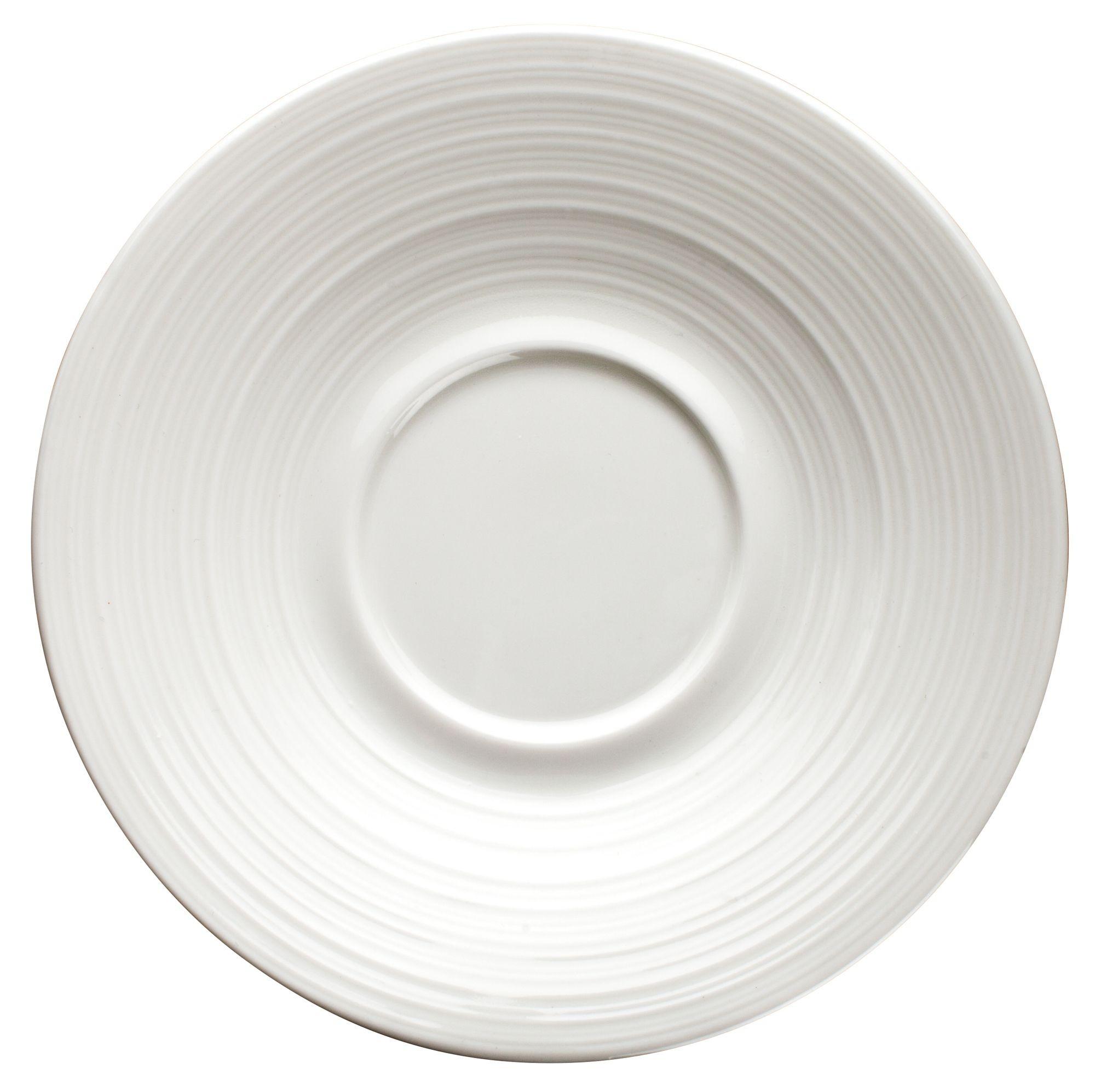 "Winco WDP022-112 Zendo Porcelain Bright White Saucer 6"""