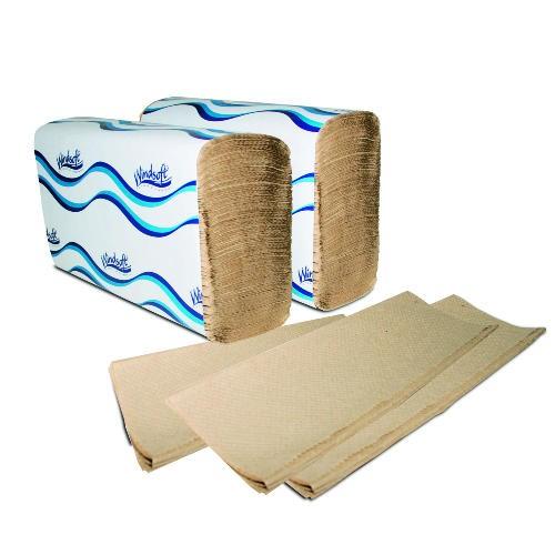 Windsoft Single-Fold Paper Towel 10.25 X 9.25, 1-Ply, Brown