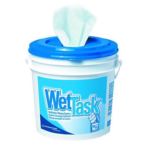 Kimtech WetTask System Bleach Disinfectant Sanitizer Wipes with Bucket, 90/Roll, 6 Rolls/Carton
