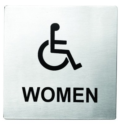 "Stainless Steel Handicap Women Accessible Sign, 5"" x 5"""